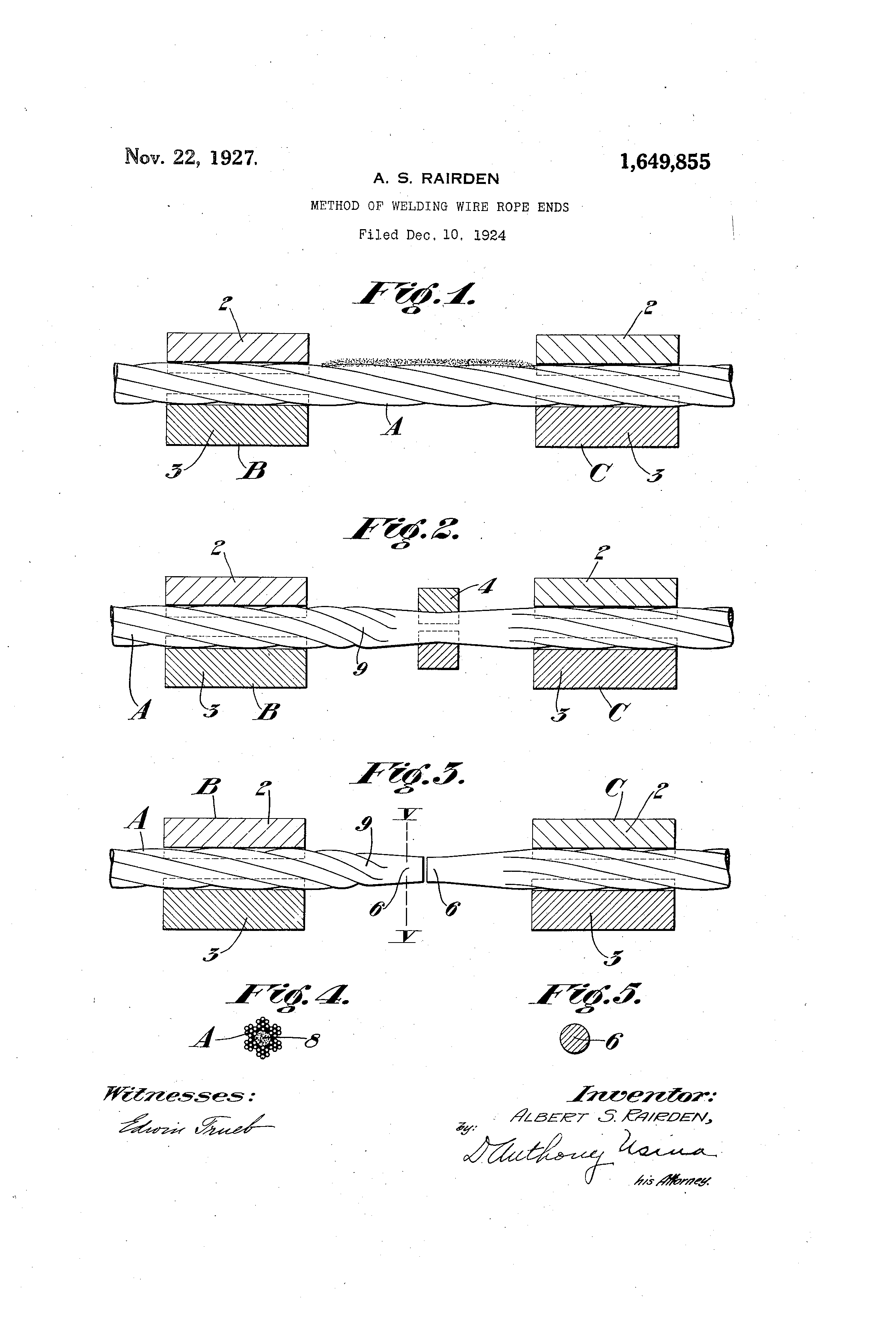 Patent US1649855 - Method of welding wire-rope ends - Google Patents