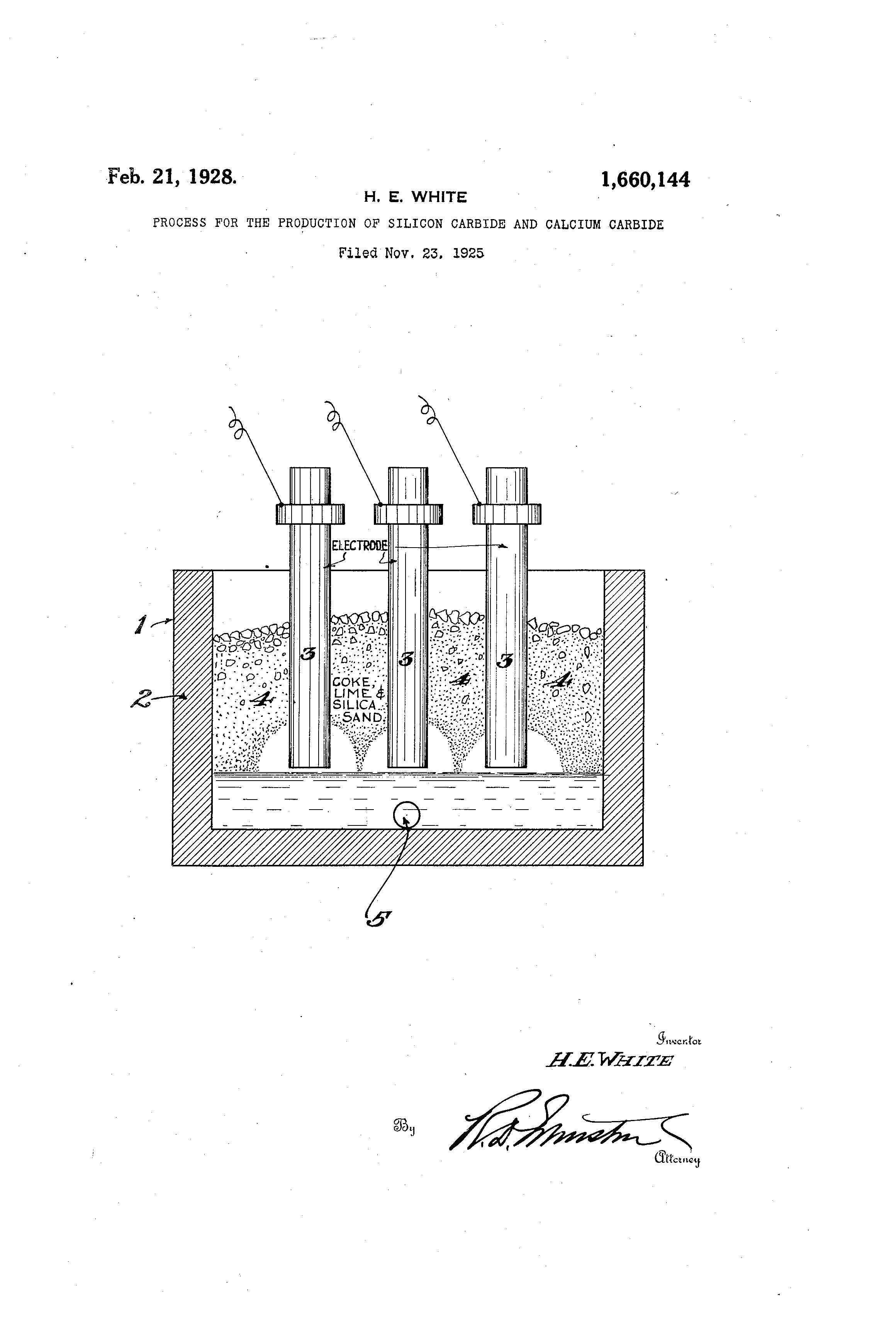 patent us1660144 - process for the production of silicon carbide and calcium carbide