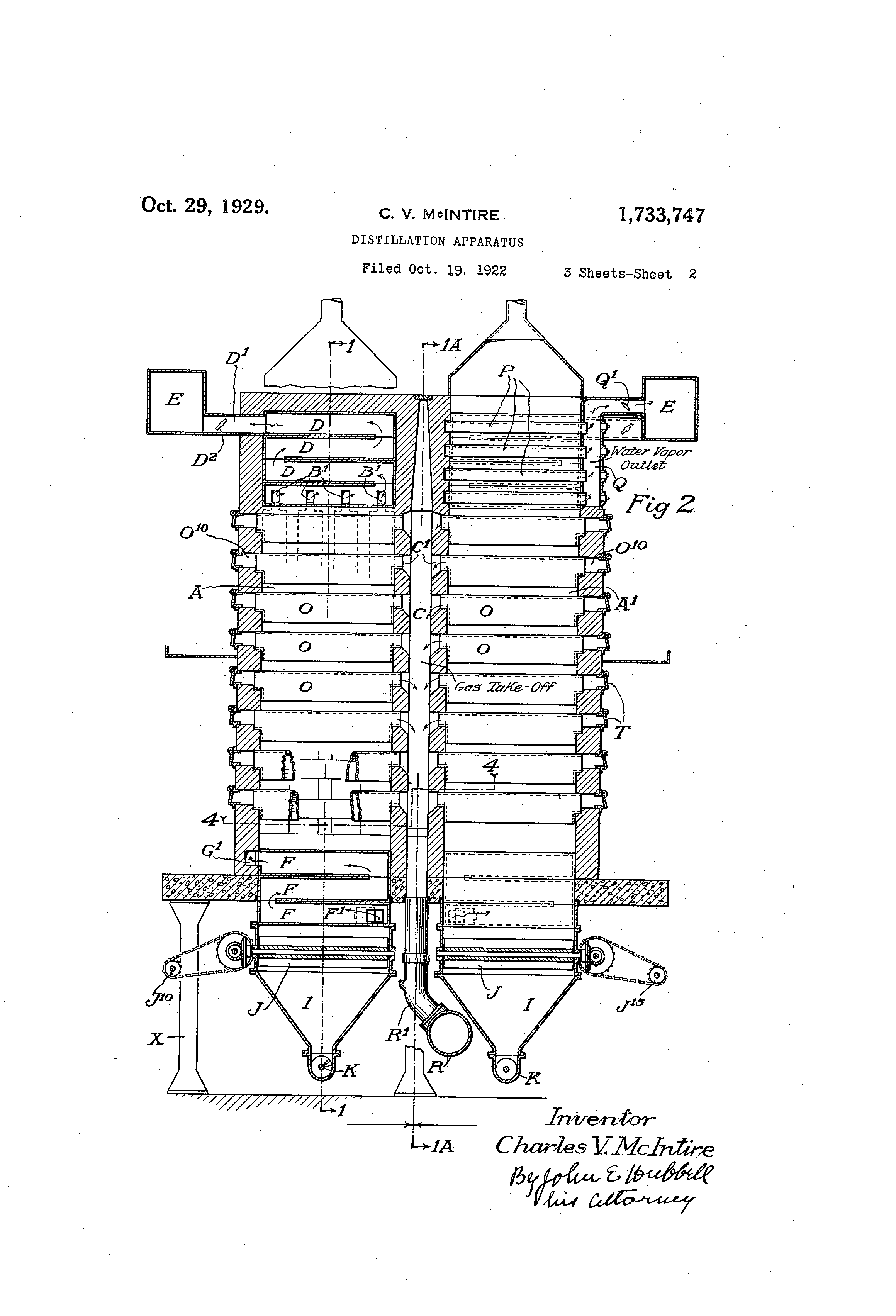 Patent Us1733747 Distillation Apparatus Google Patents Simple Diagram Drawing