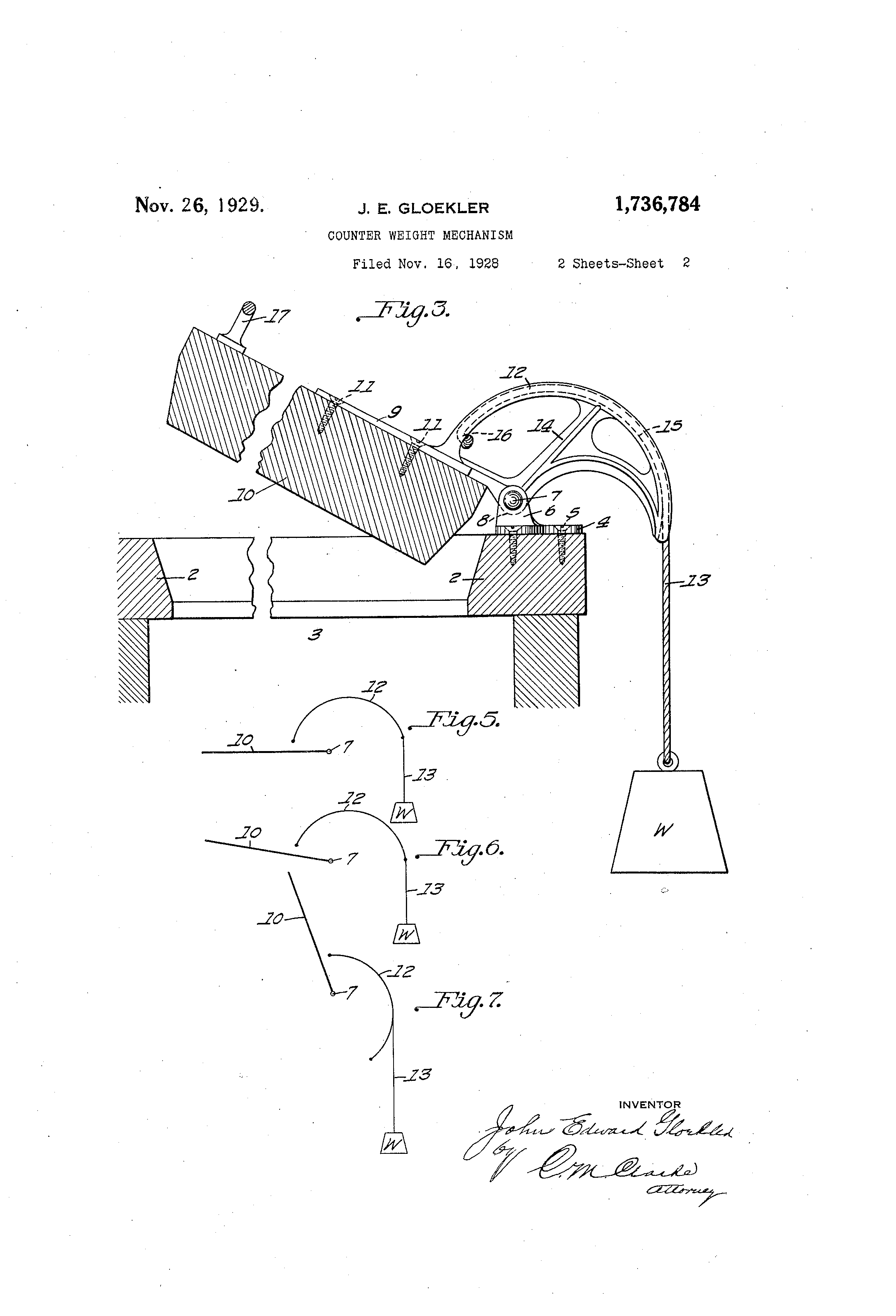 Patent US1736784 - Counter-weight mechanism - Google Patents