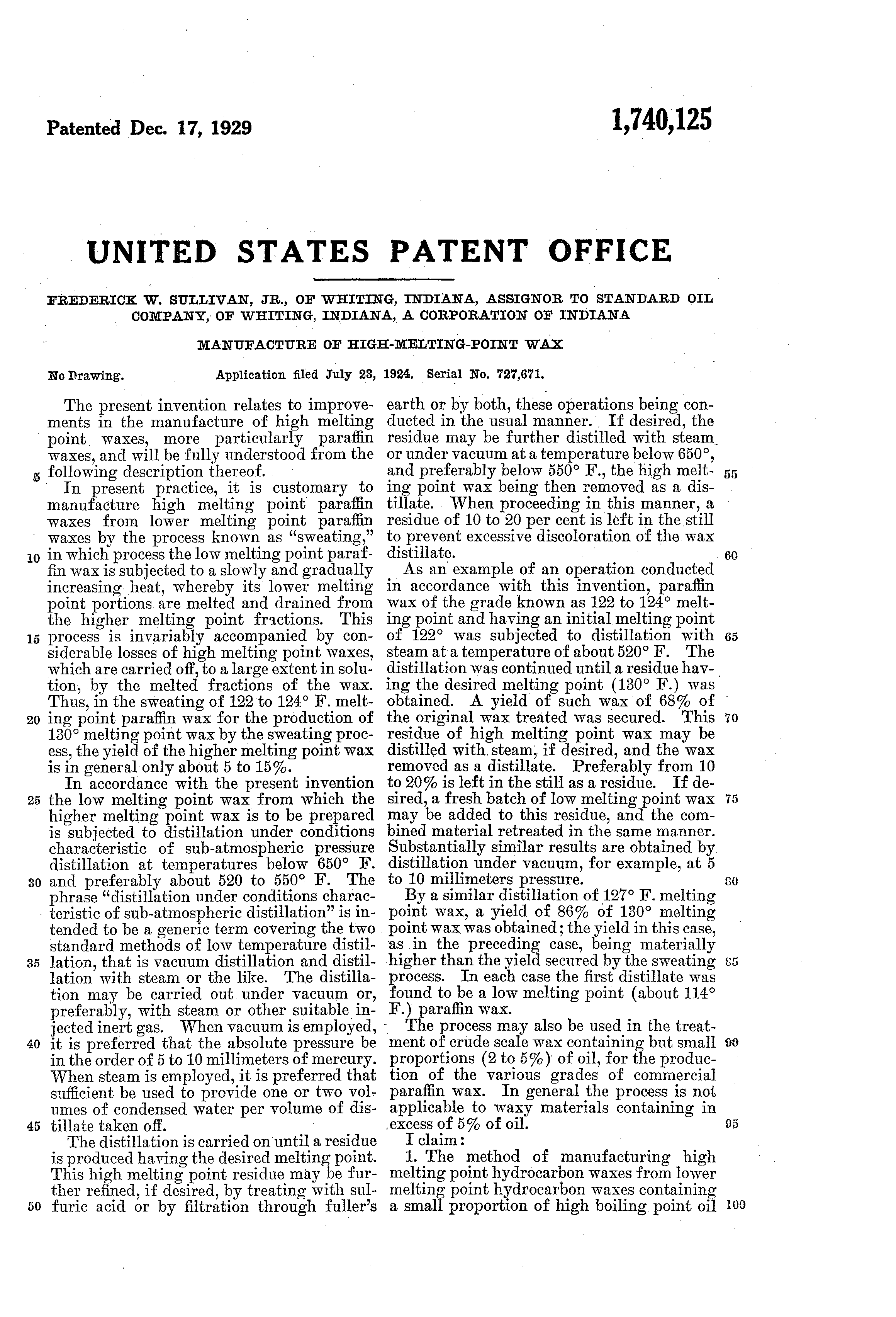 Patent US1740125 - Manufacture of high-melting-point wax - Google ...