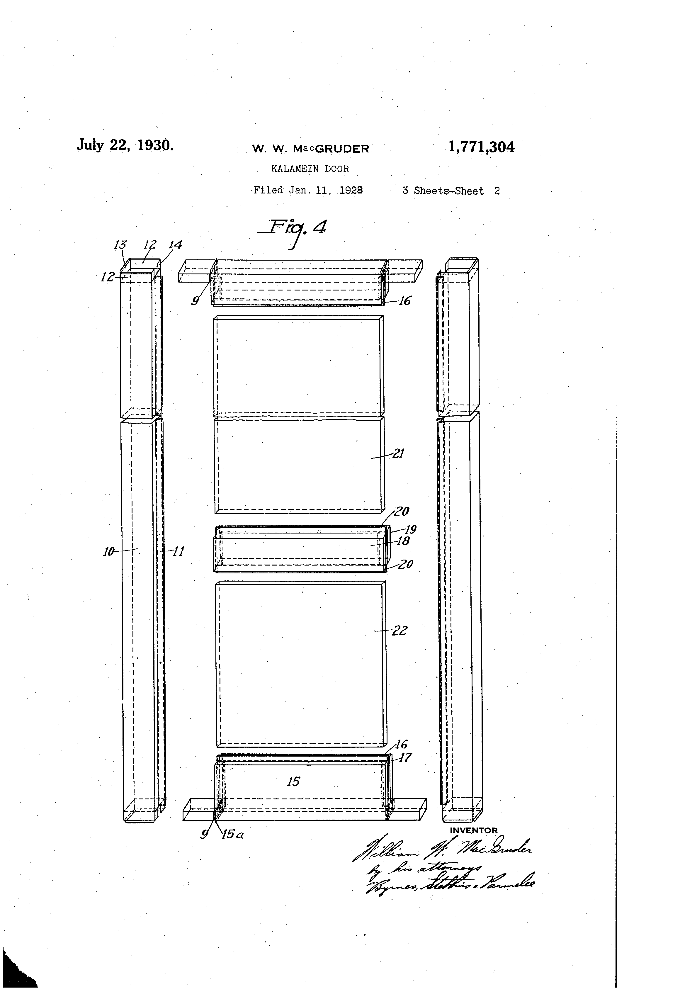 Patent Drawing  sc 1 st  Google & Patent US1771304 - Kalamein door - Google Patents pezcame.com