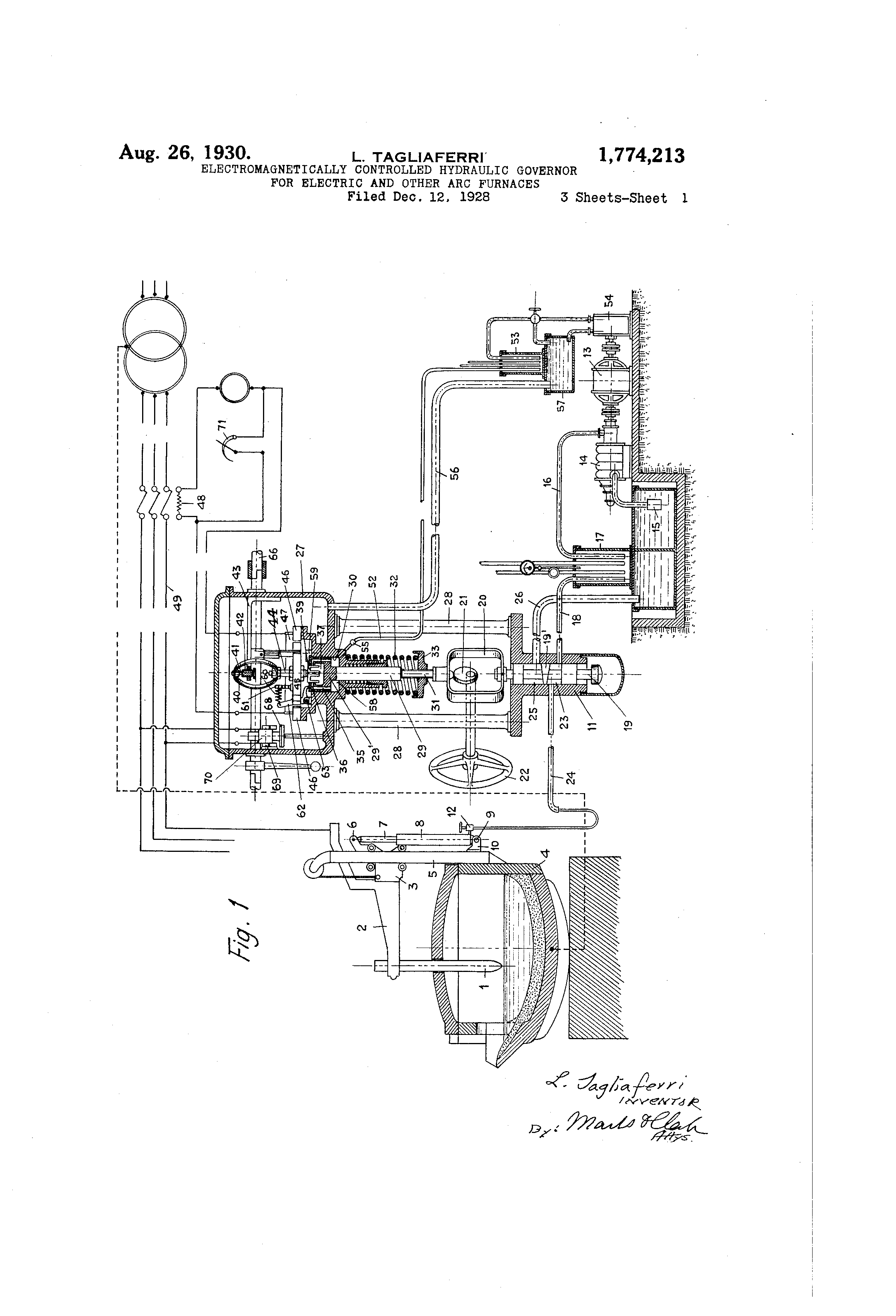 Patent US1774213 - Electromagnetically-controlled hydraulic