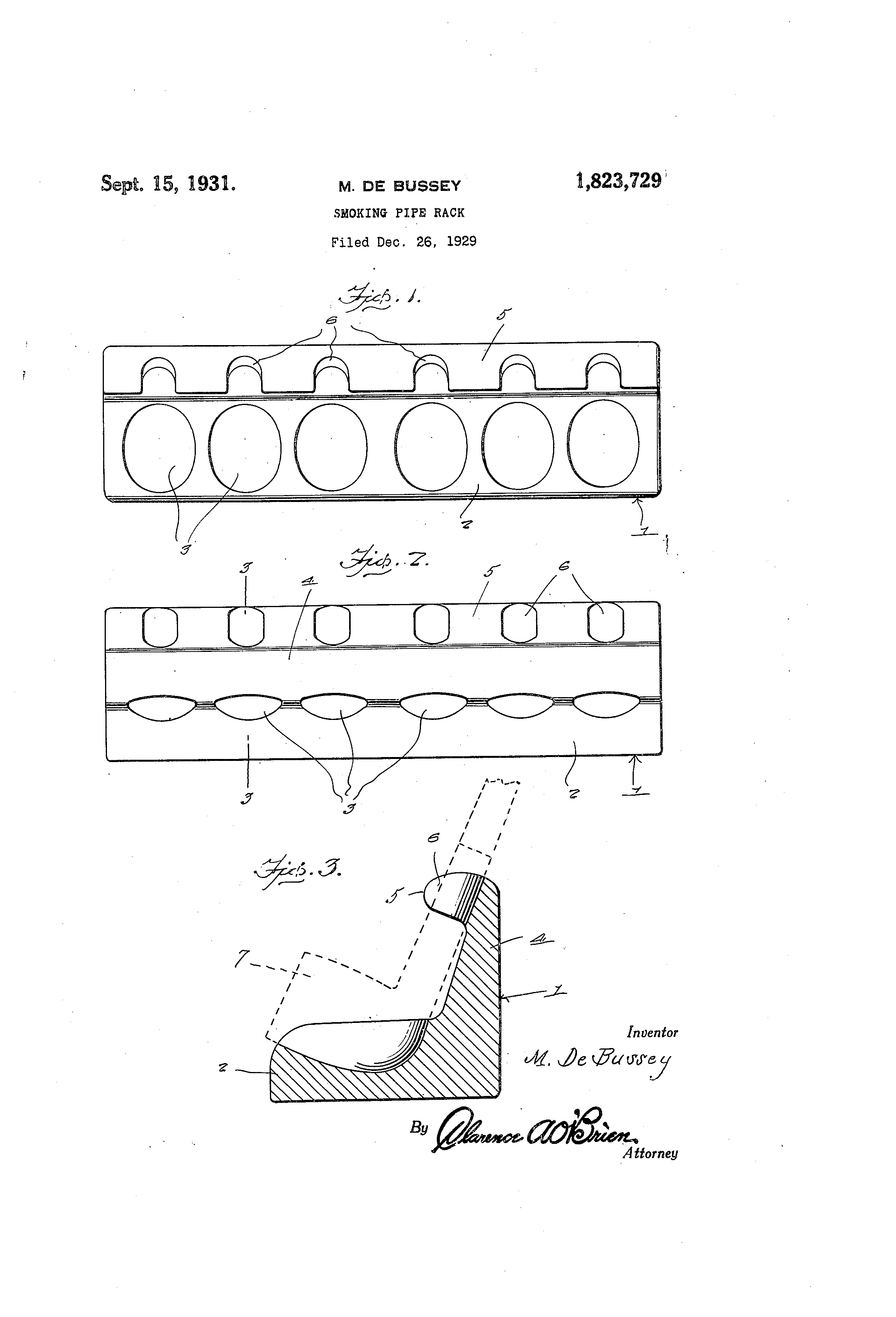 Patent US1823729 - Smoking pipe rack - Google Patents