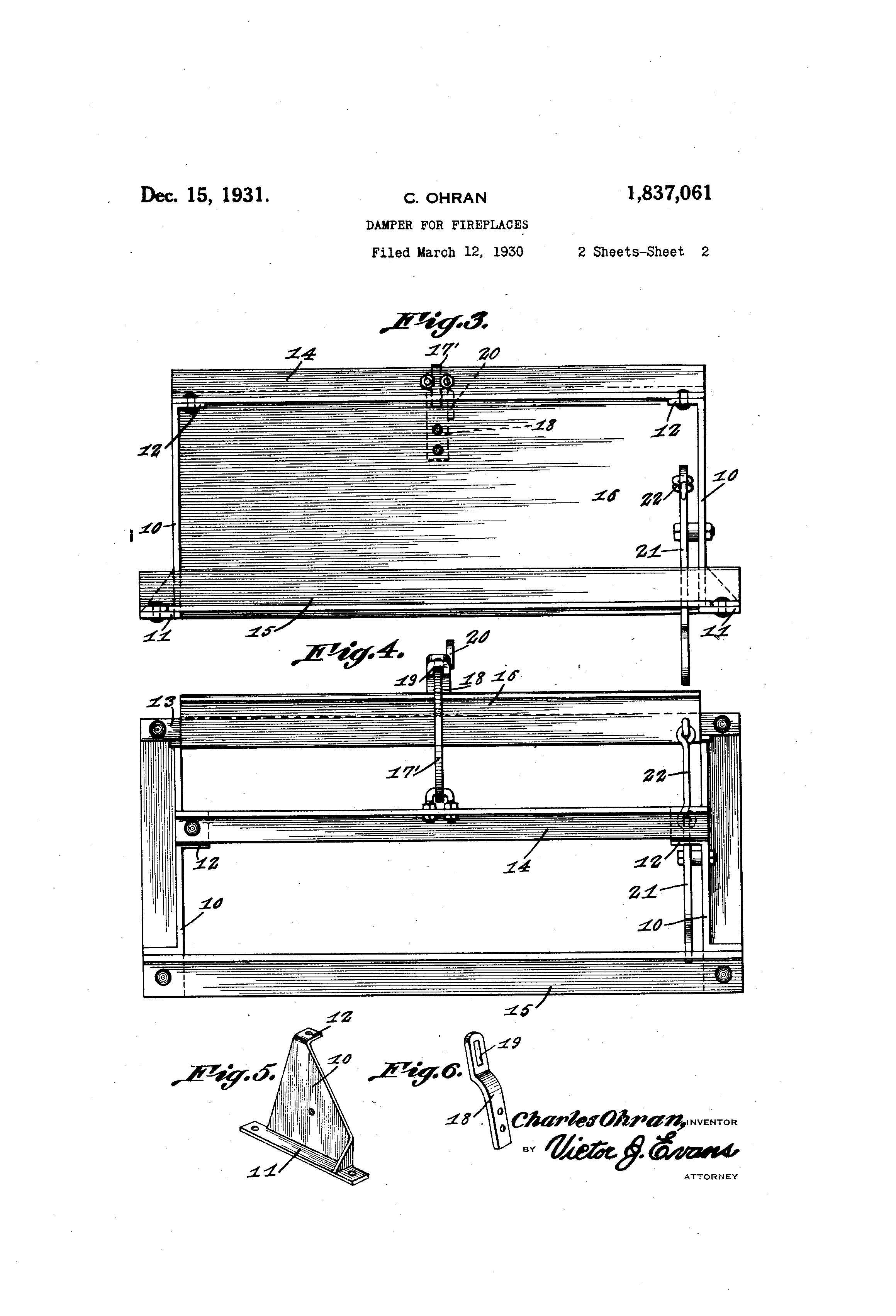 patent us1837061 damper for fireplaces google patents