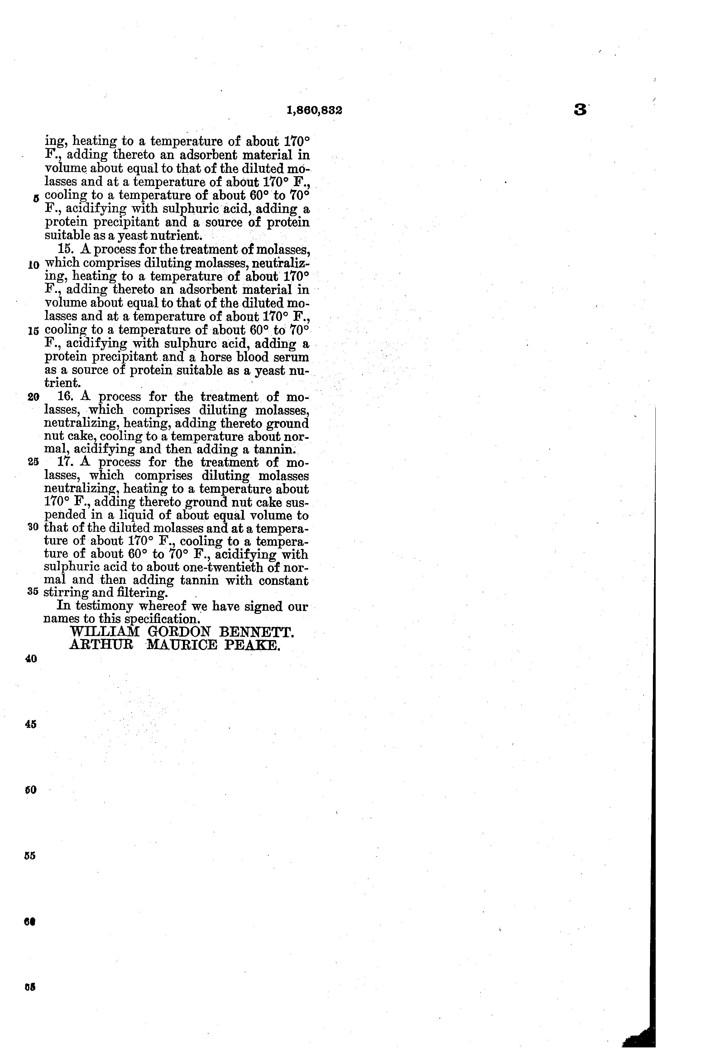 patent us treatment of molasses for yeast growth  patent drawing
