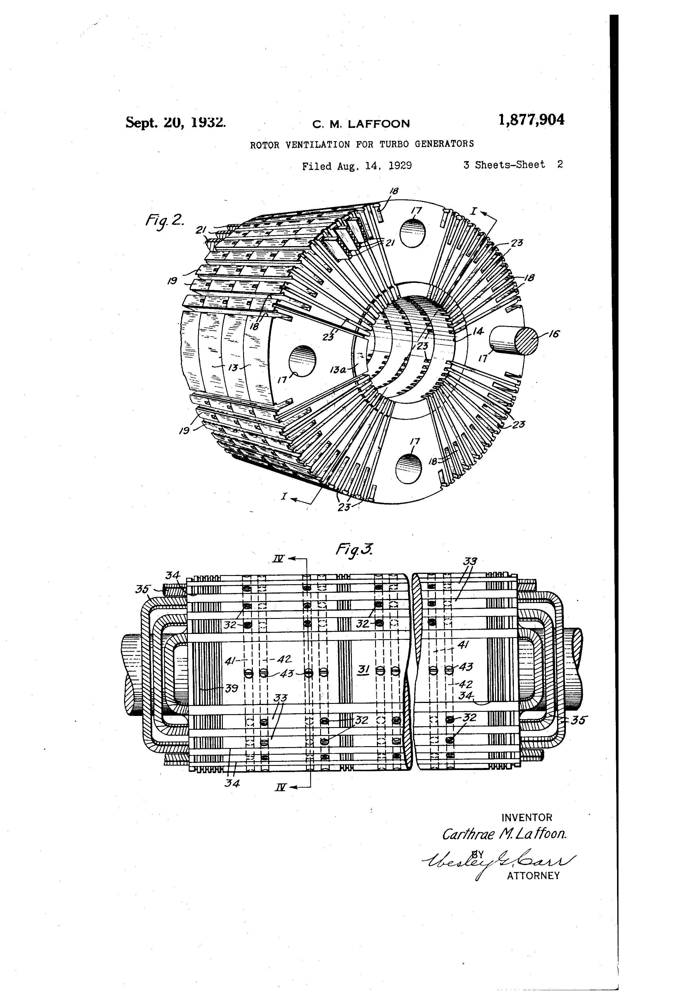 patent us1877904 rotor ventilation for turbo generators google patentsuche. Black Bedroom Furniture Sets. Home Design Ideas