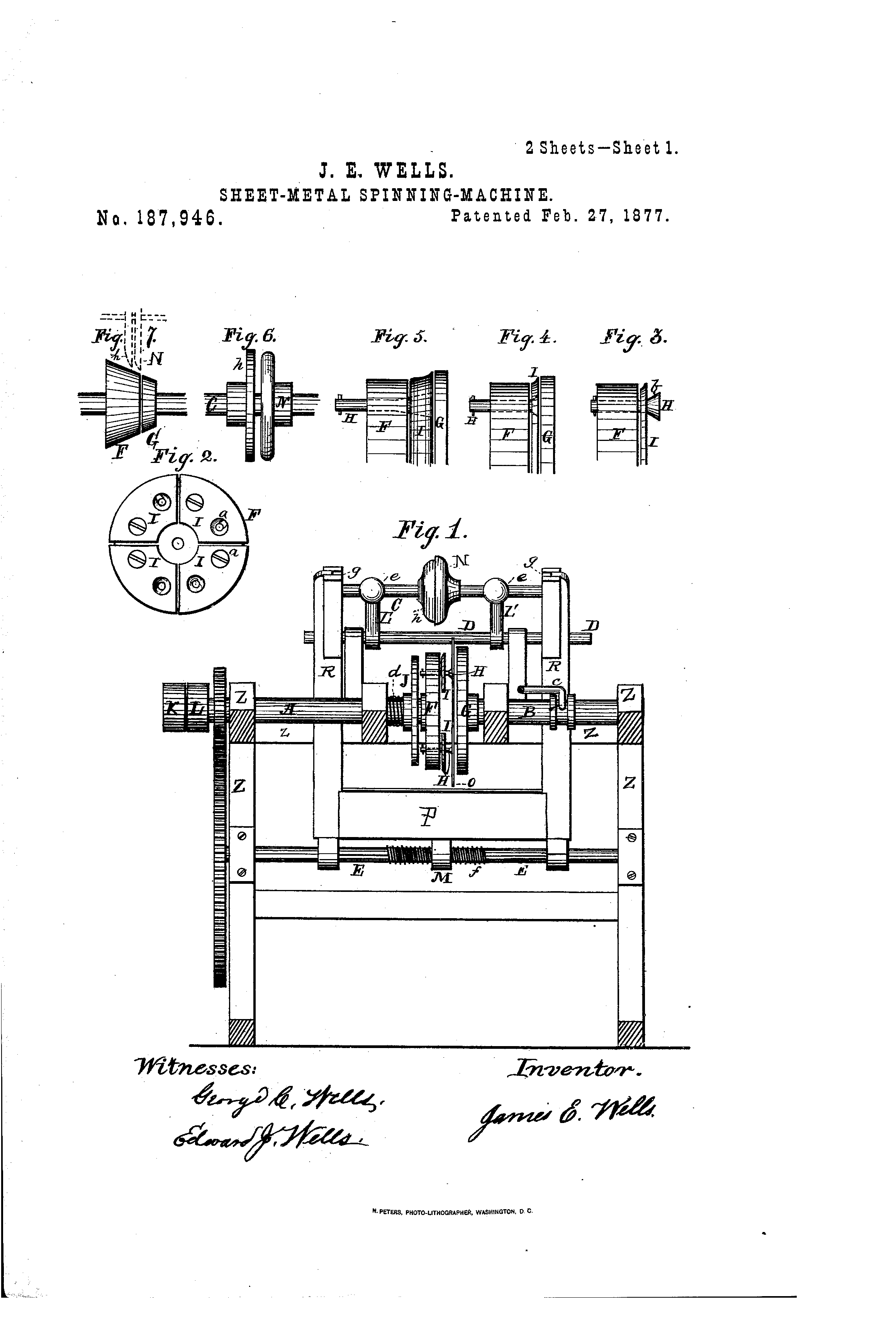 Brevet Us187946 Improvement In Sheet Metal Spinning Machines