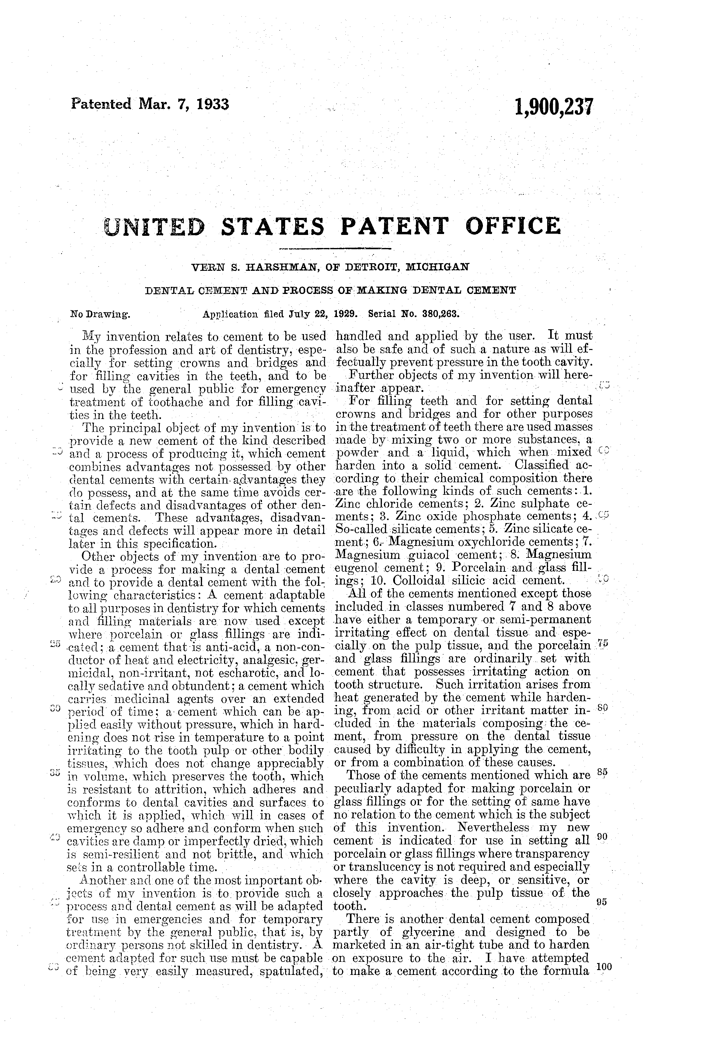 Brevet US1900237 - Dental cement and process of making dental cement