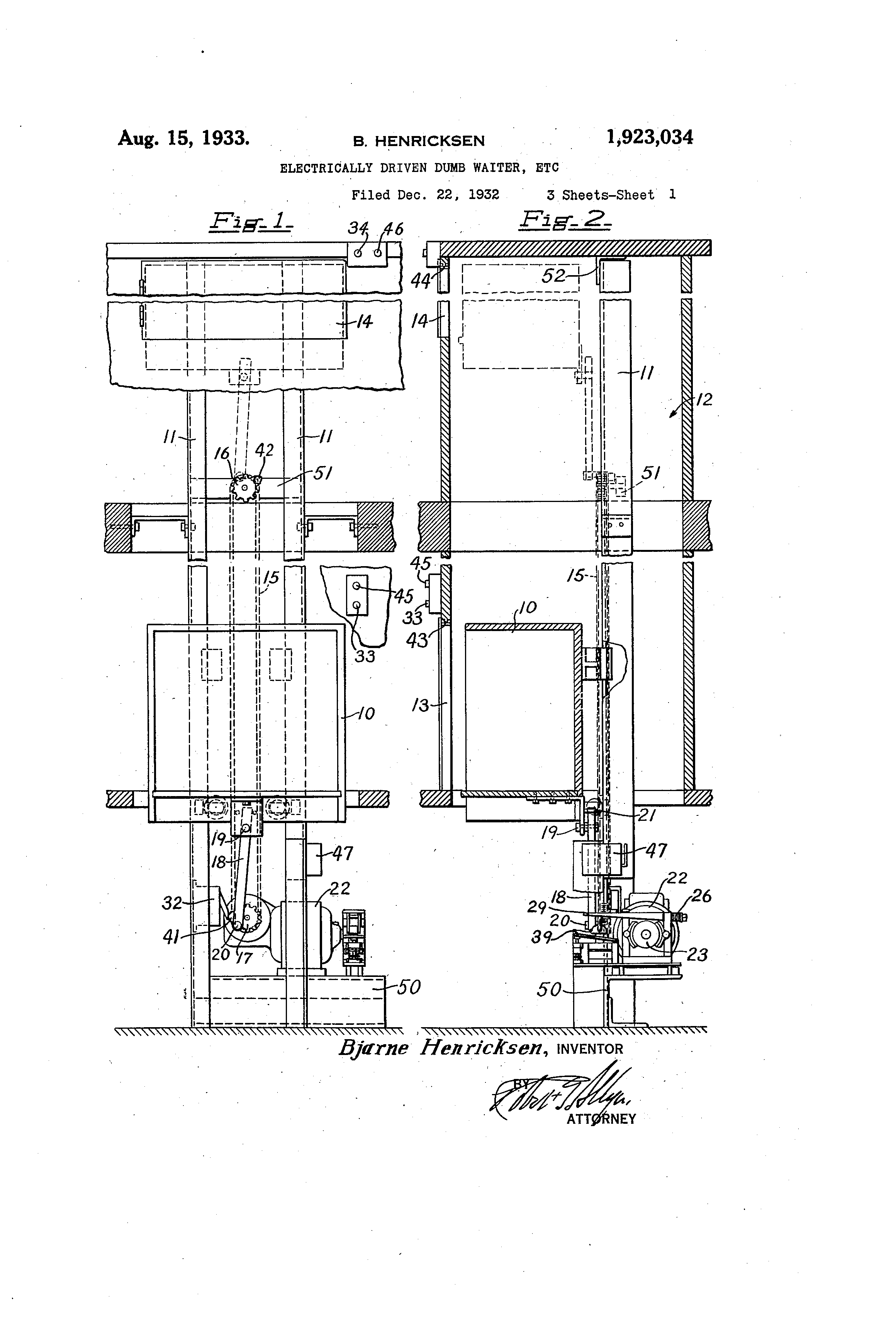 patent us1923034 - electrically driven dumb waiter  etc