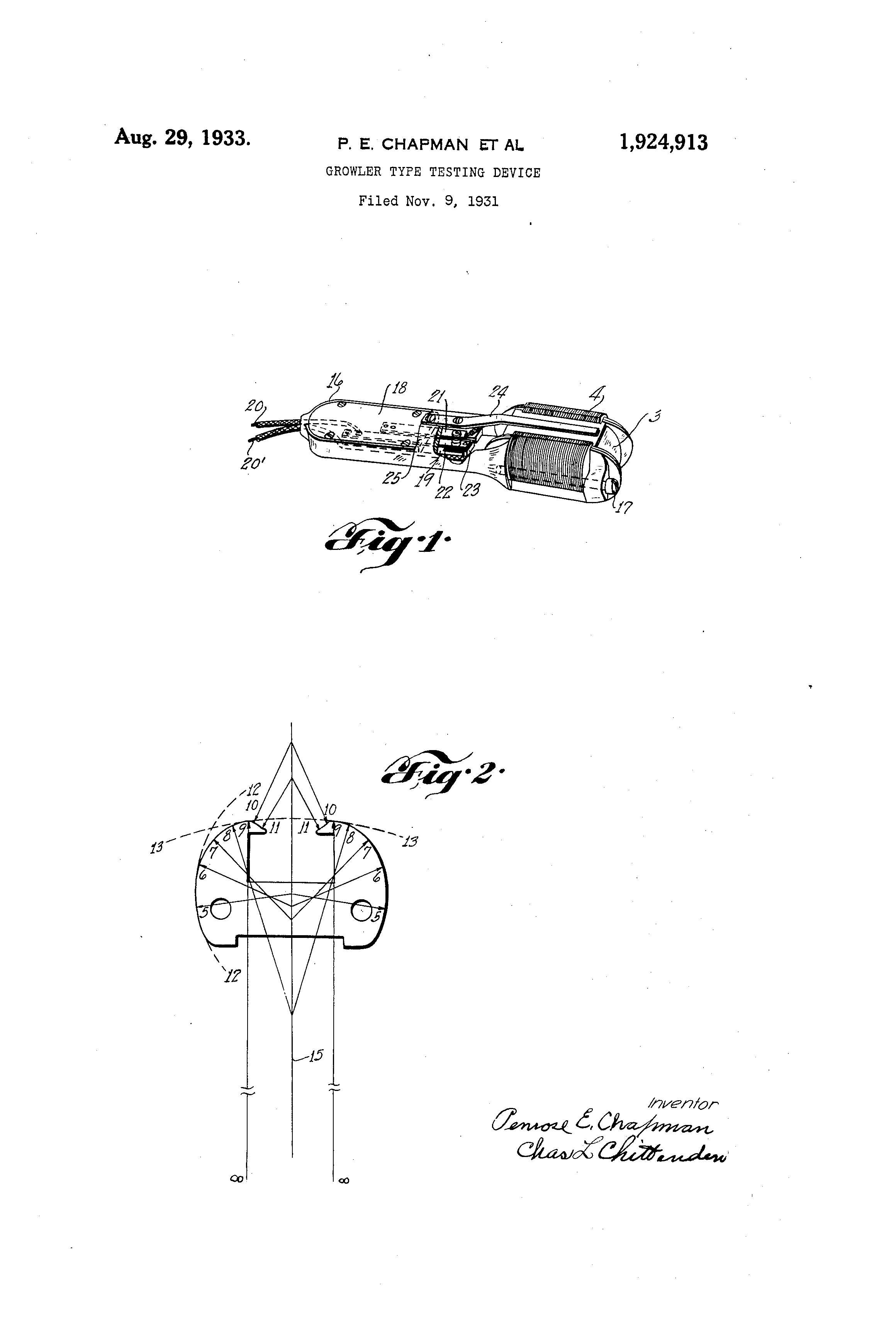 patent us1924913 growler type testing device google patents patent drawing