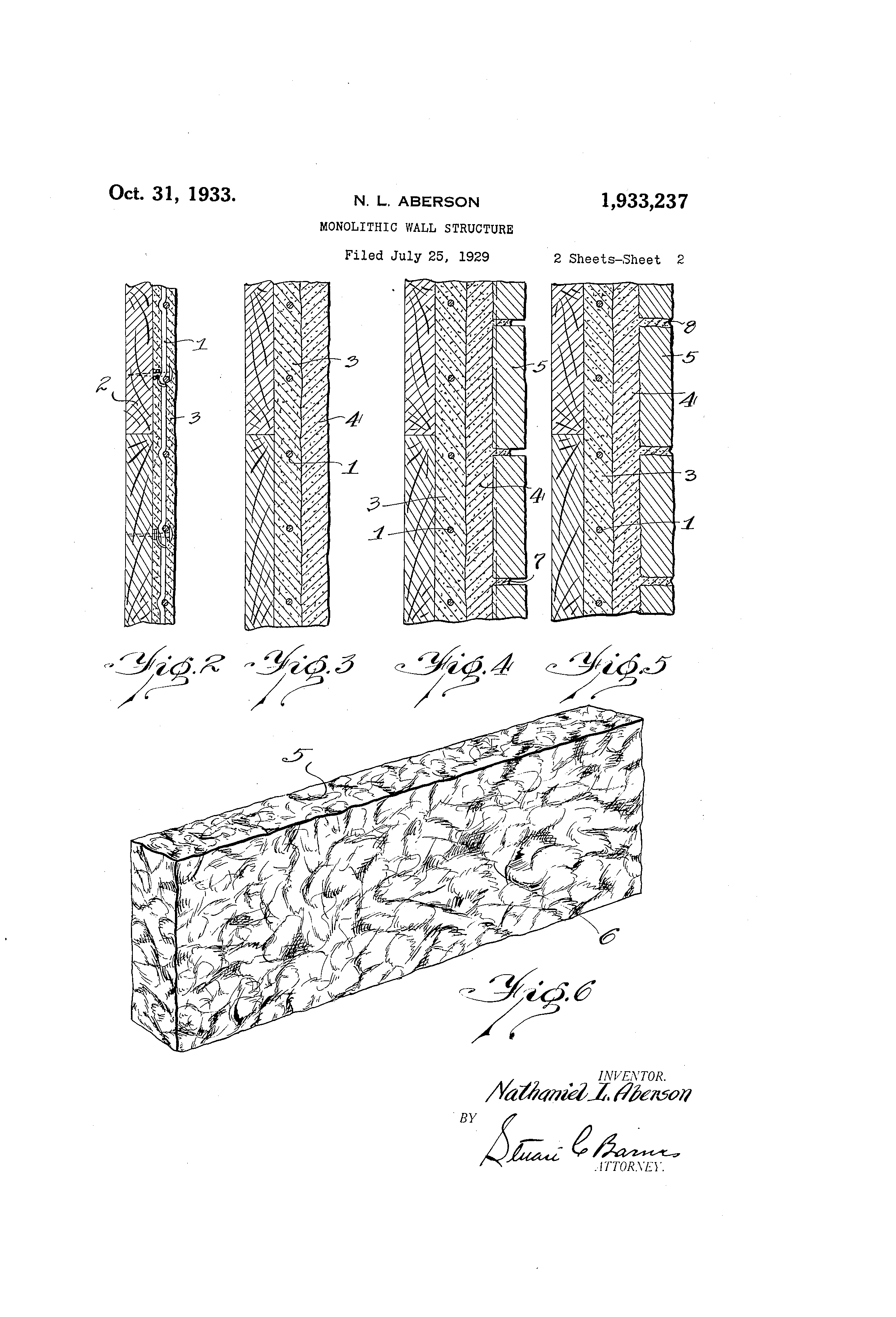 Patent US1933237 - Monolithic wall structure - Google Patents