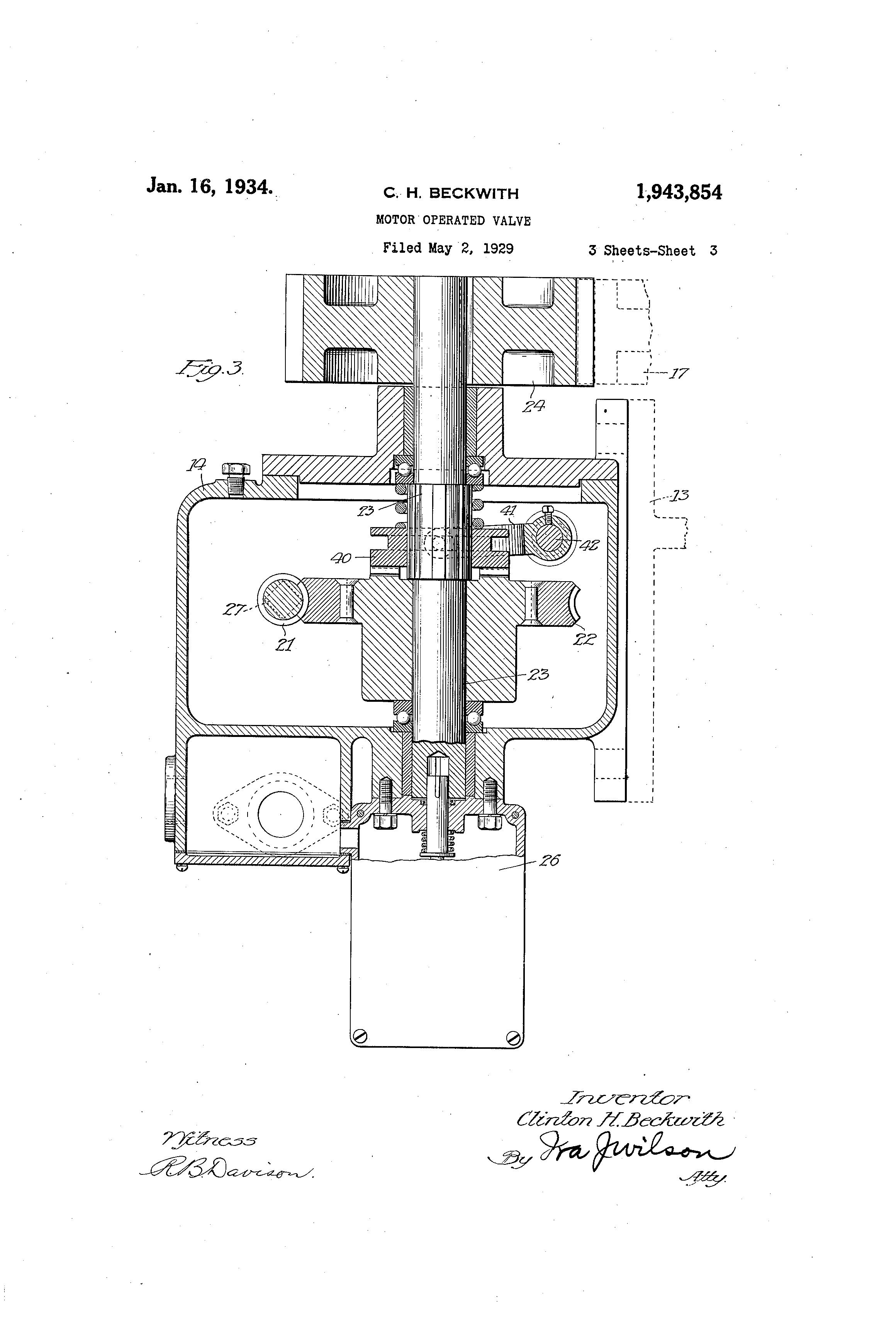 Patent Us1943854 - Motor Operated Valve