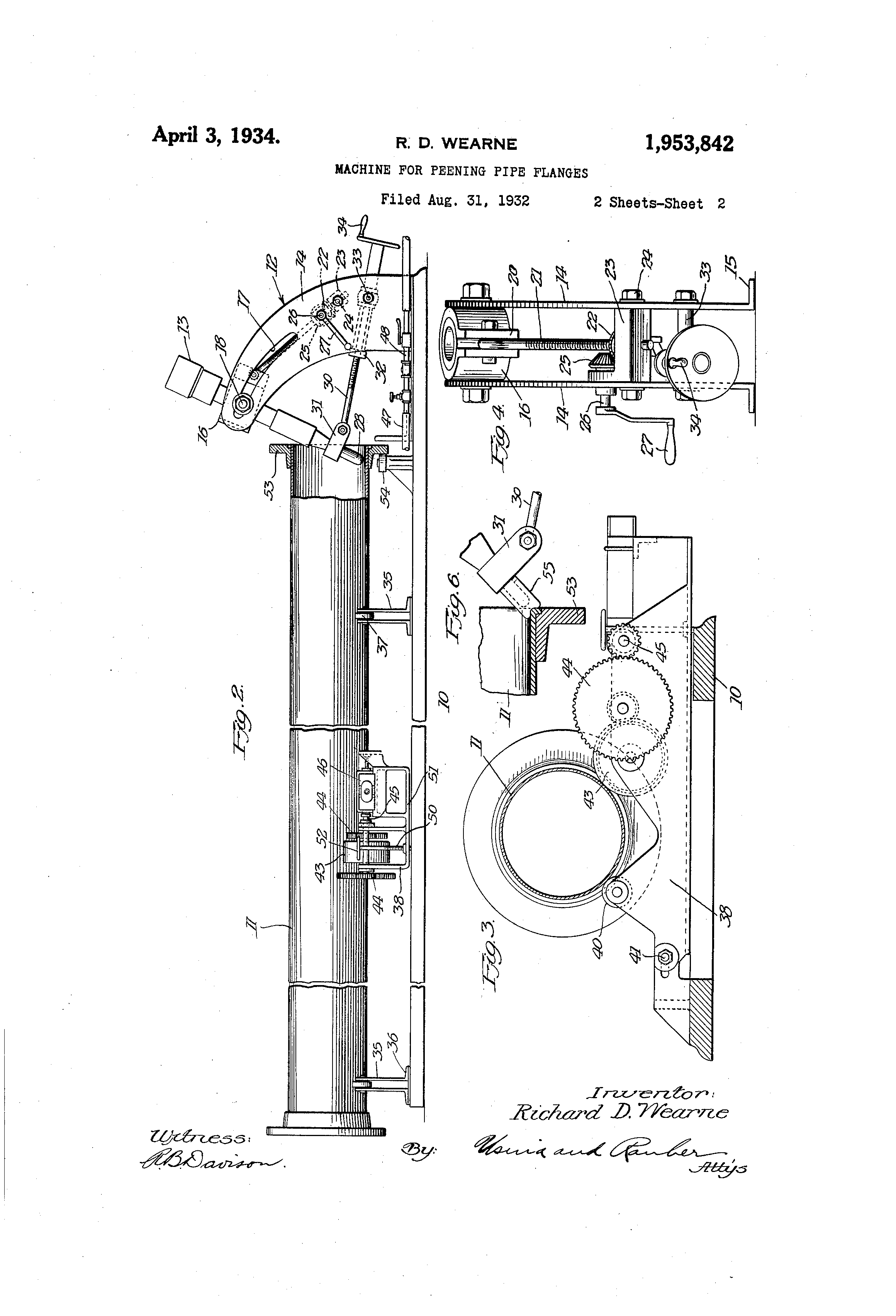 Patent US1953842 - Machine for peening pipe flanges - Google Patents