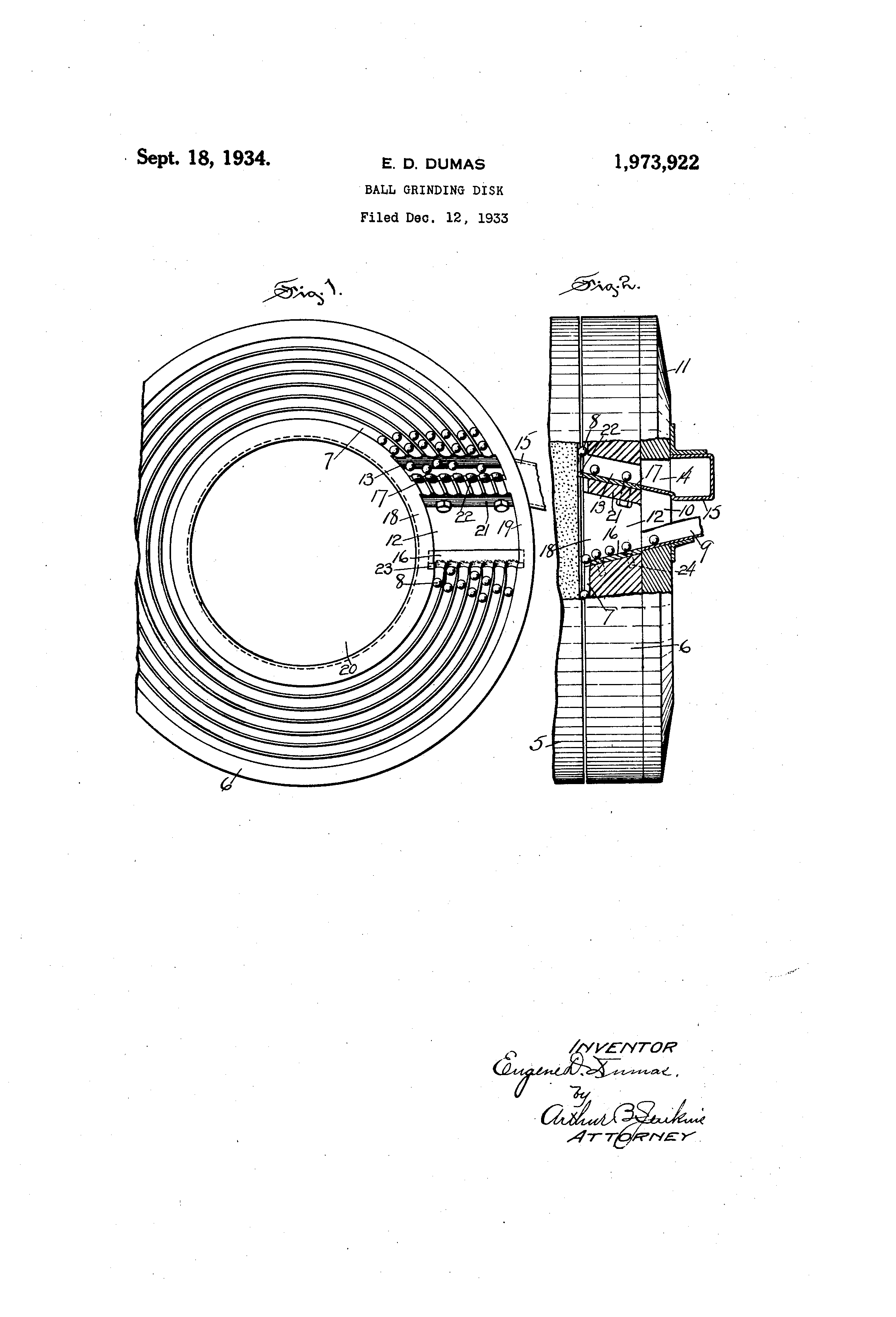 Patent US1973922 - Ball grinding disk - Google Patents