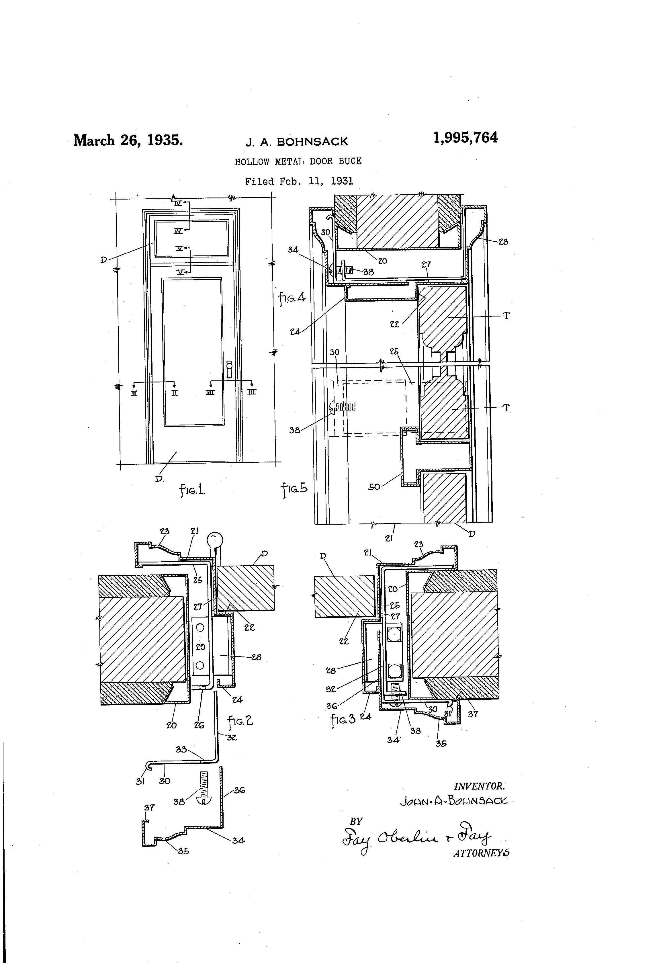 Patent US1995764 Hollow metal door buck Google Patents  sc 1 st  samehadaku.us & Hollow metal door jamb detail