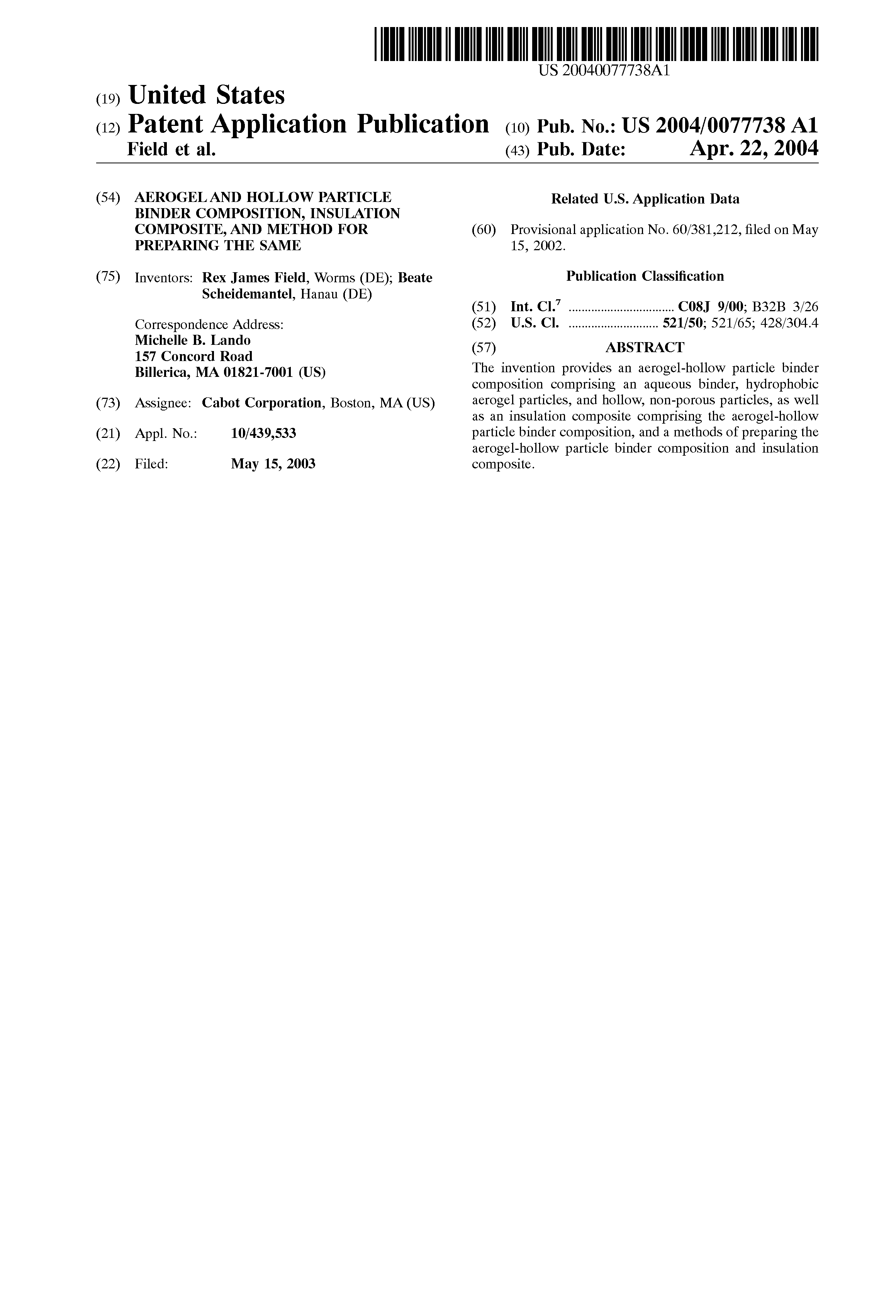 Patent US20040077738 - Aerogel and hollow particle binder