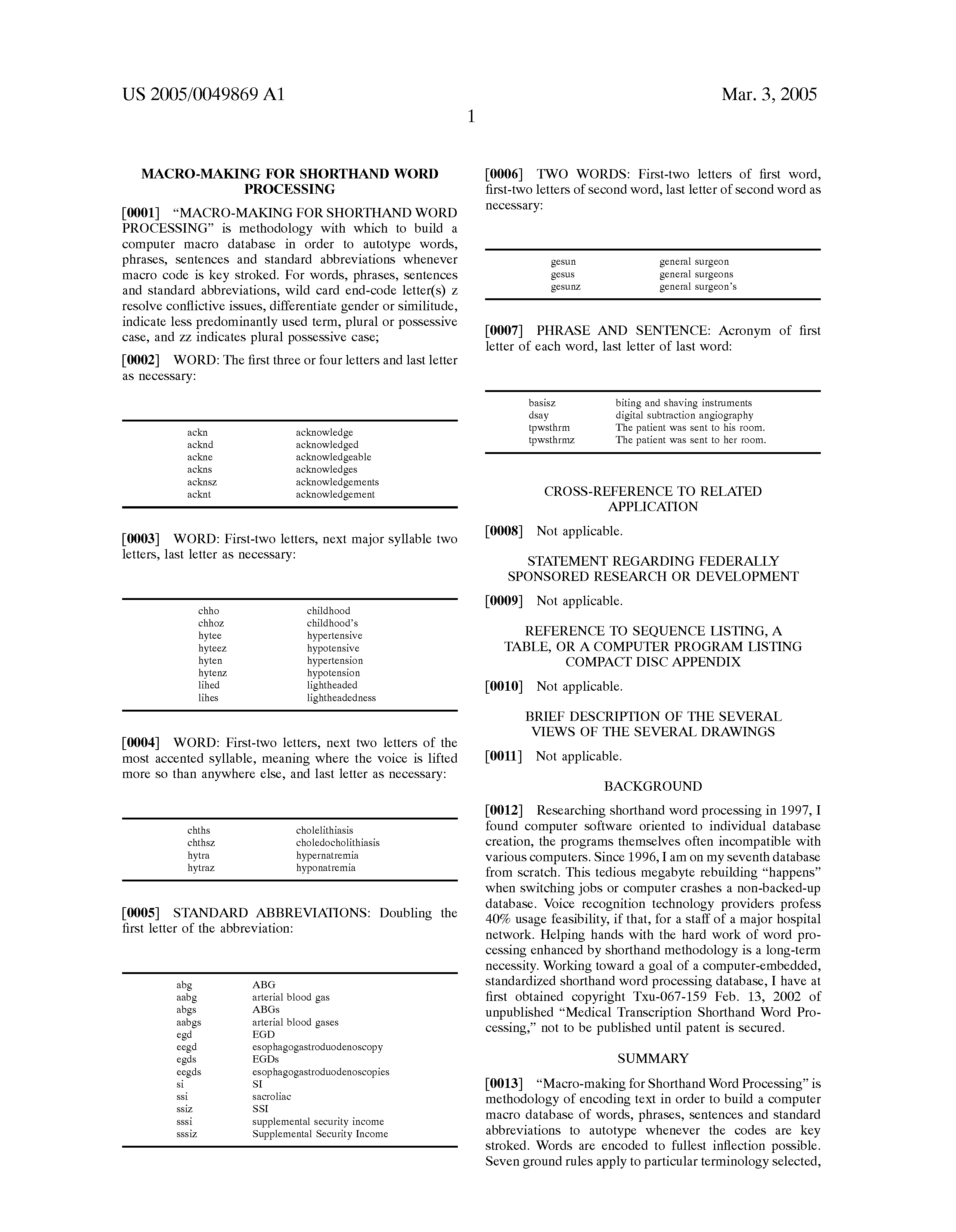 Patent US Macro making for shorthand word processing