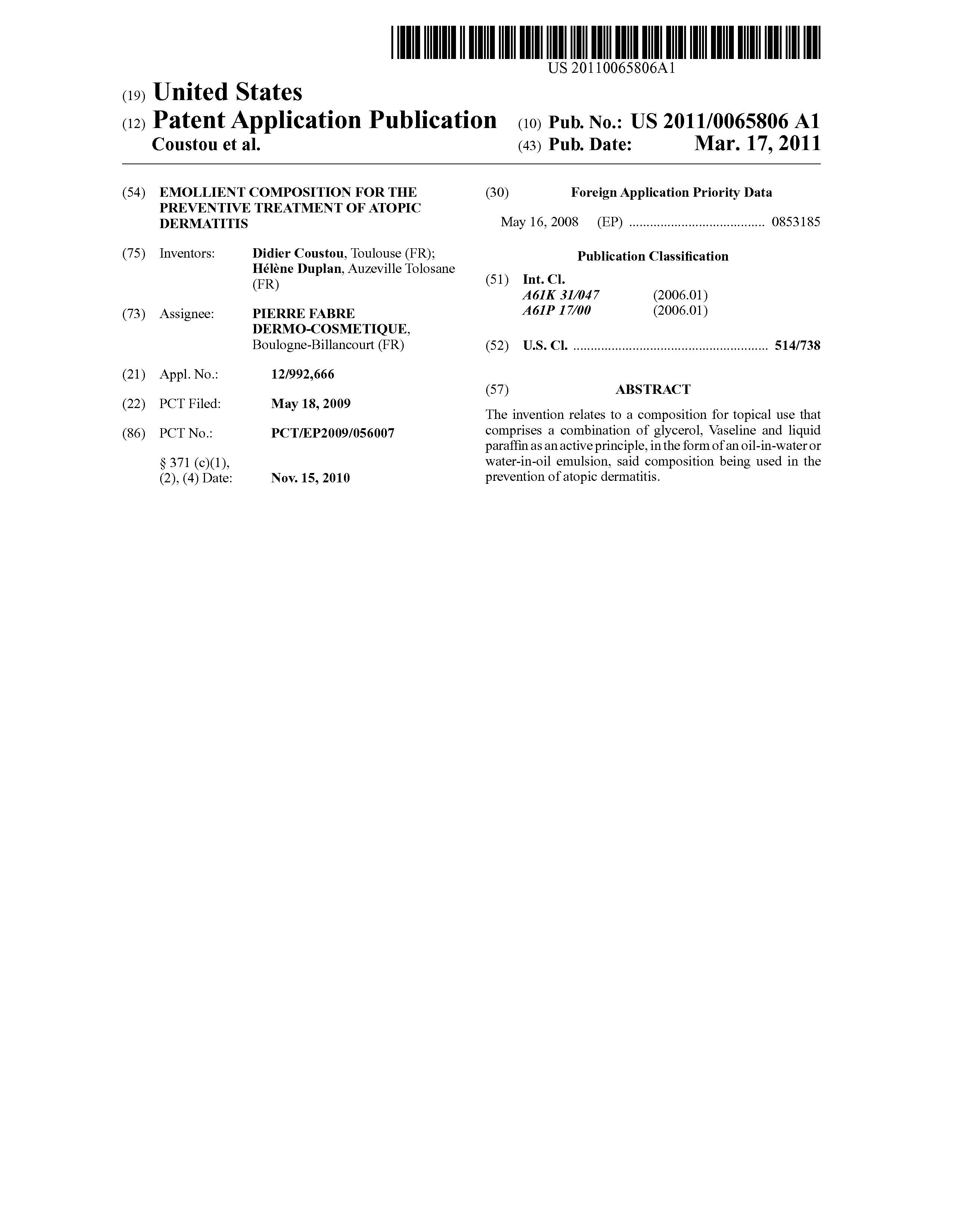 Patent Us20110065806 Emollient Composition For The Preventive
