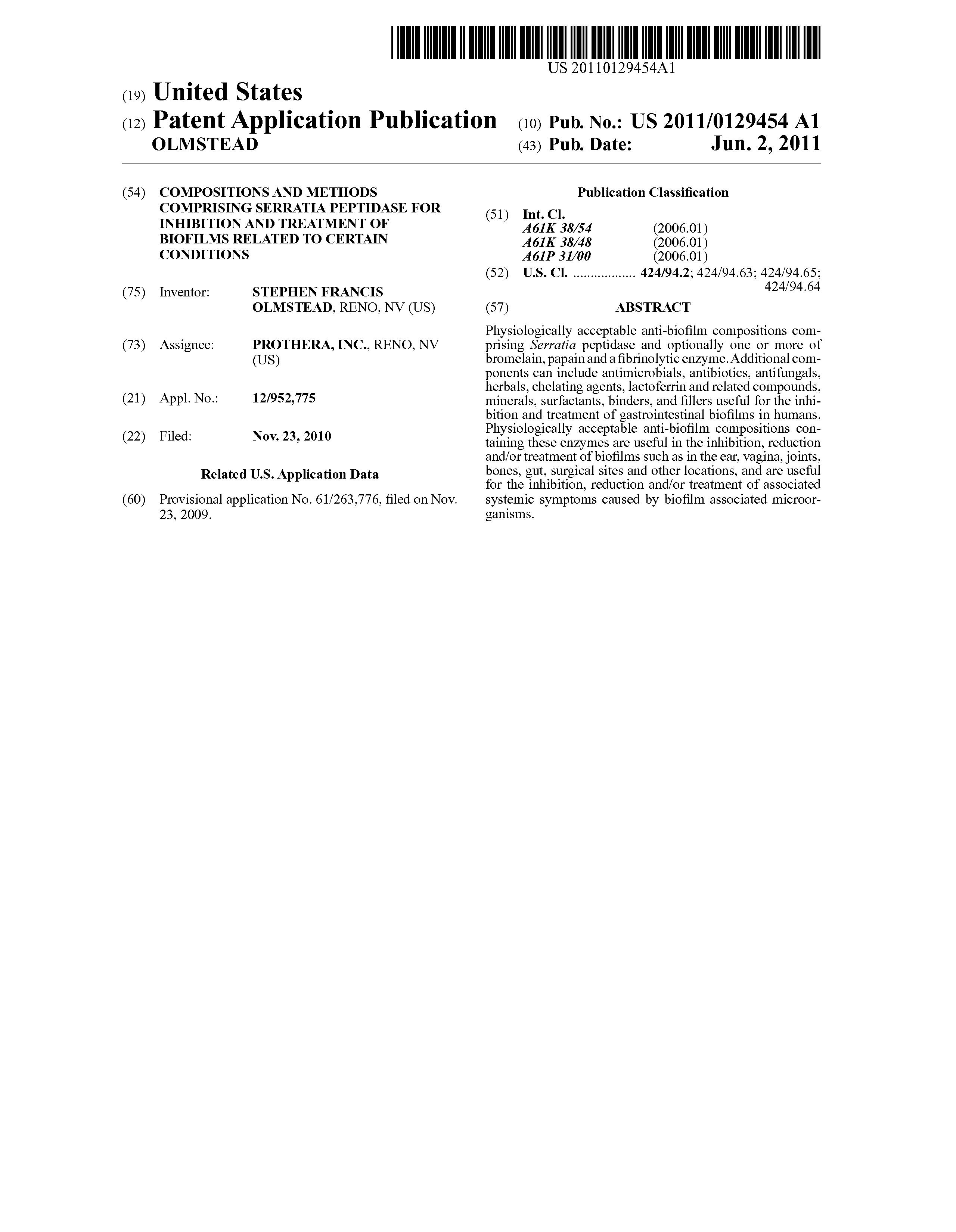 Patent US20110129454 - Compositions and methods comprising serratia
