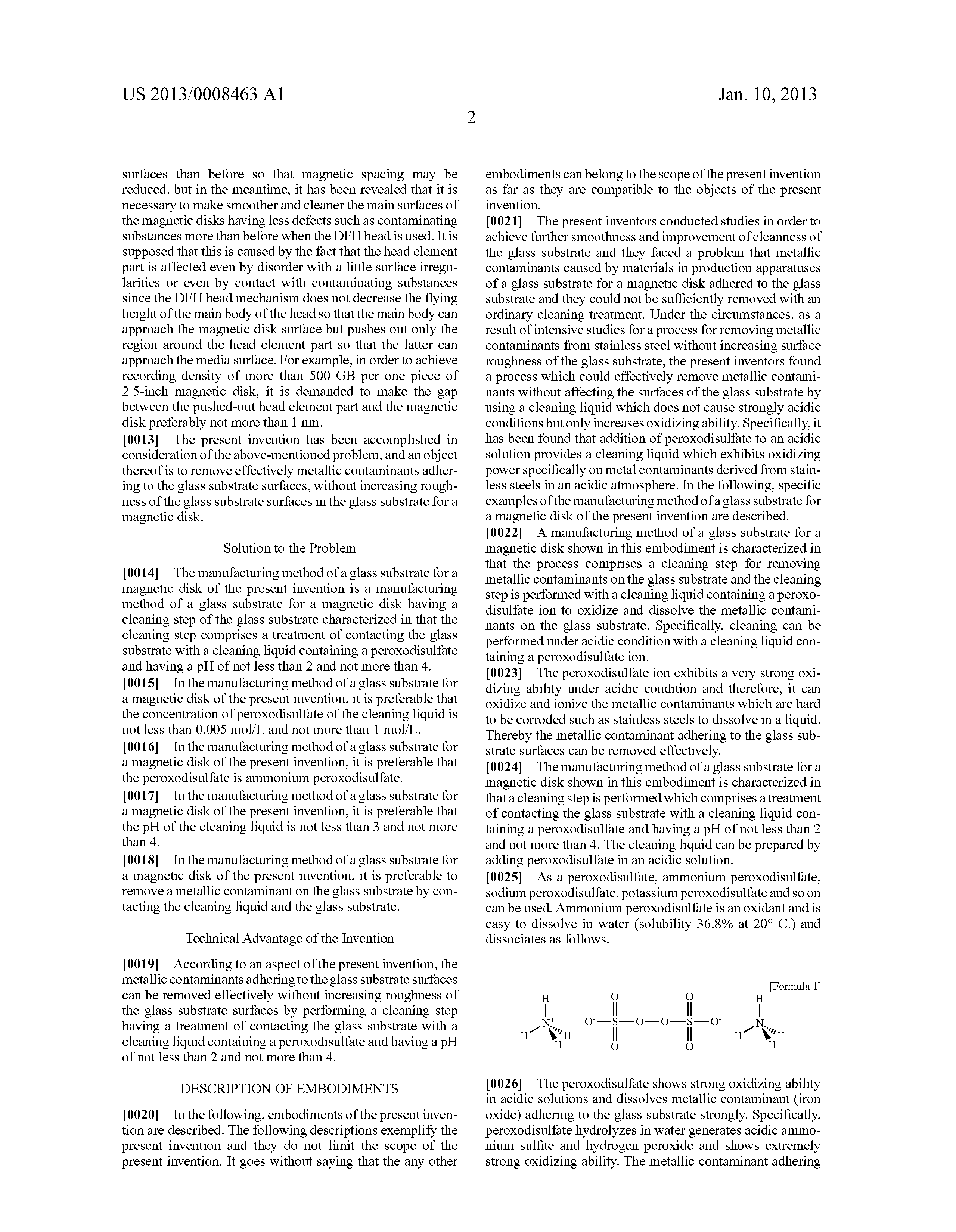 Brevet US20130008463 - Manufacturing method of a glass