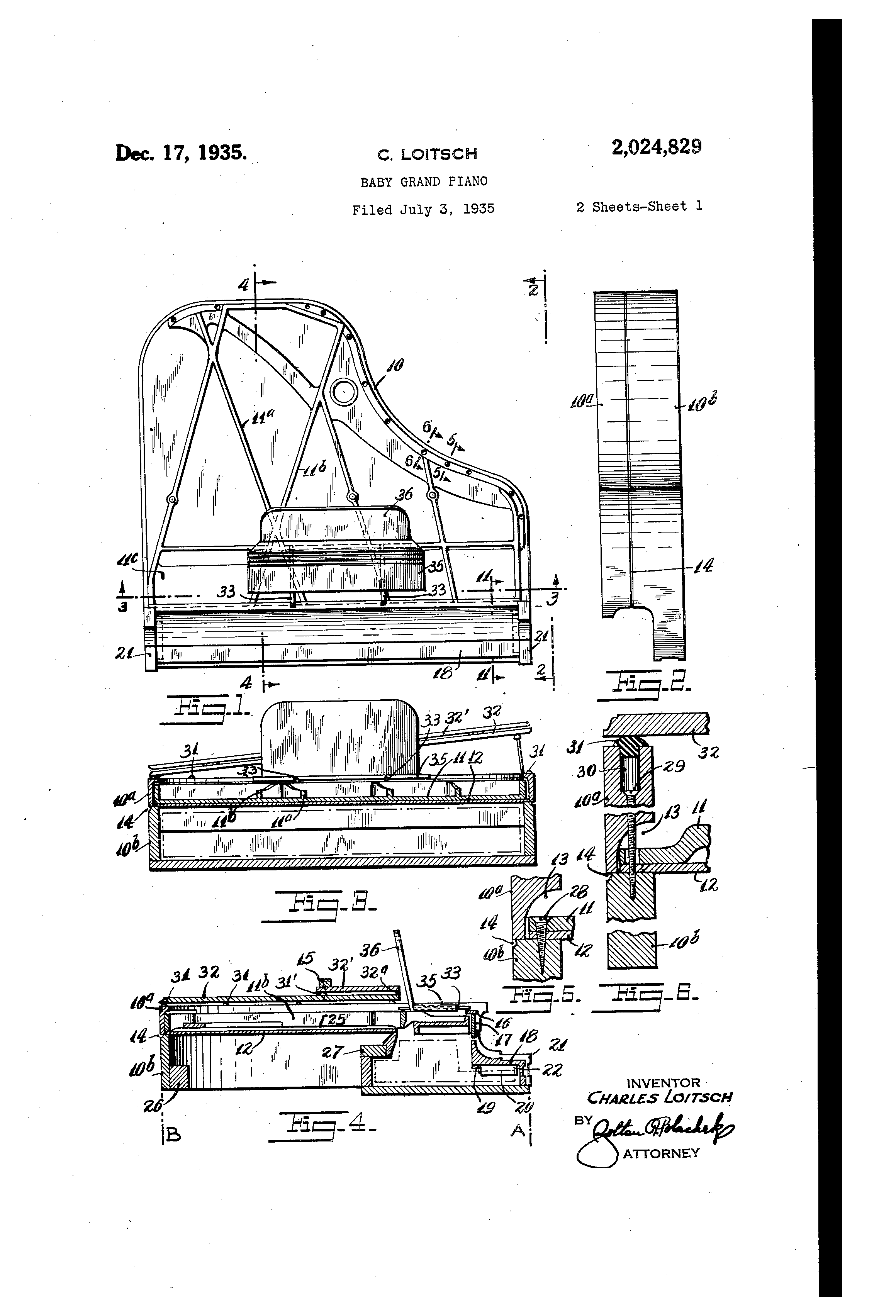 good dimensions of grand piano #6: Patent Drawing