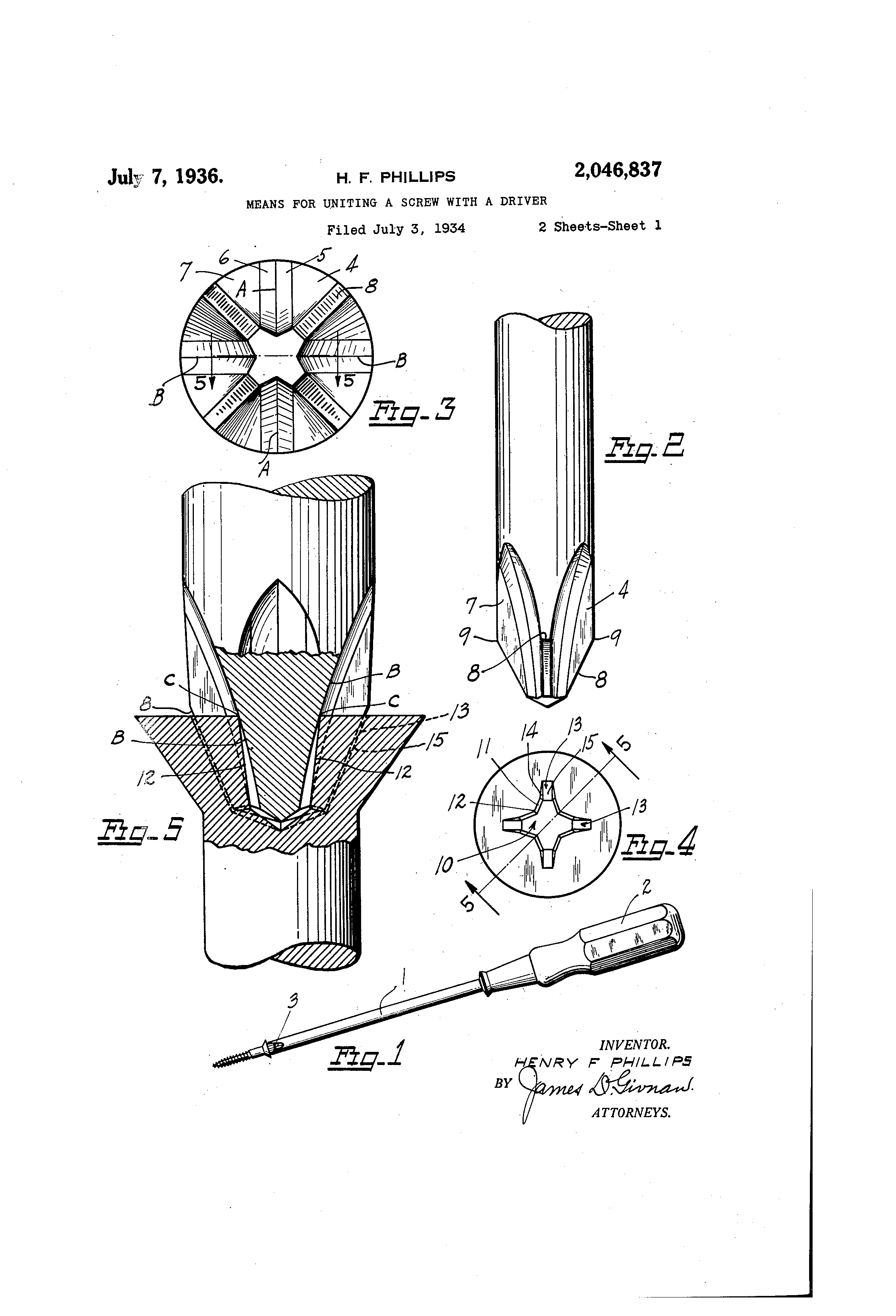 Patent Us2046837 Means For Uniting A Screw With A Driver