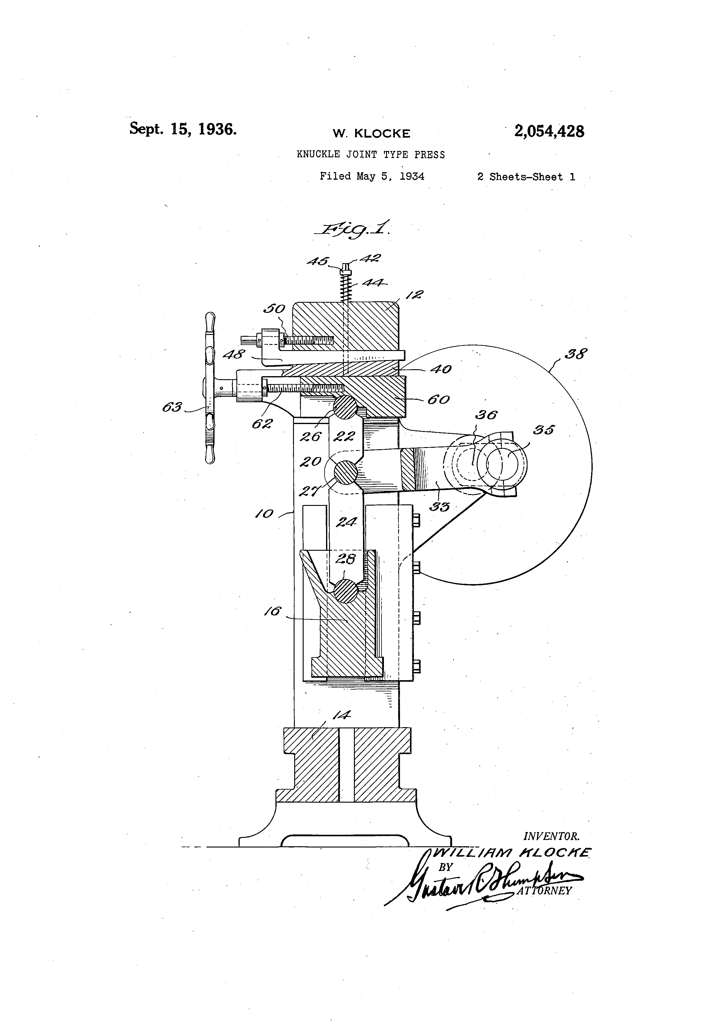 Patent Us2054428 Knuckle Joint Type Press Google Patents