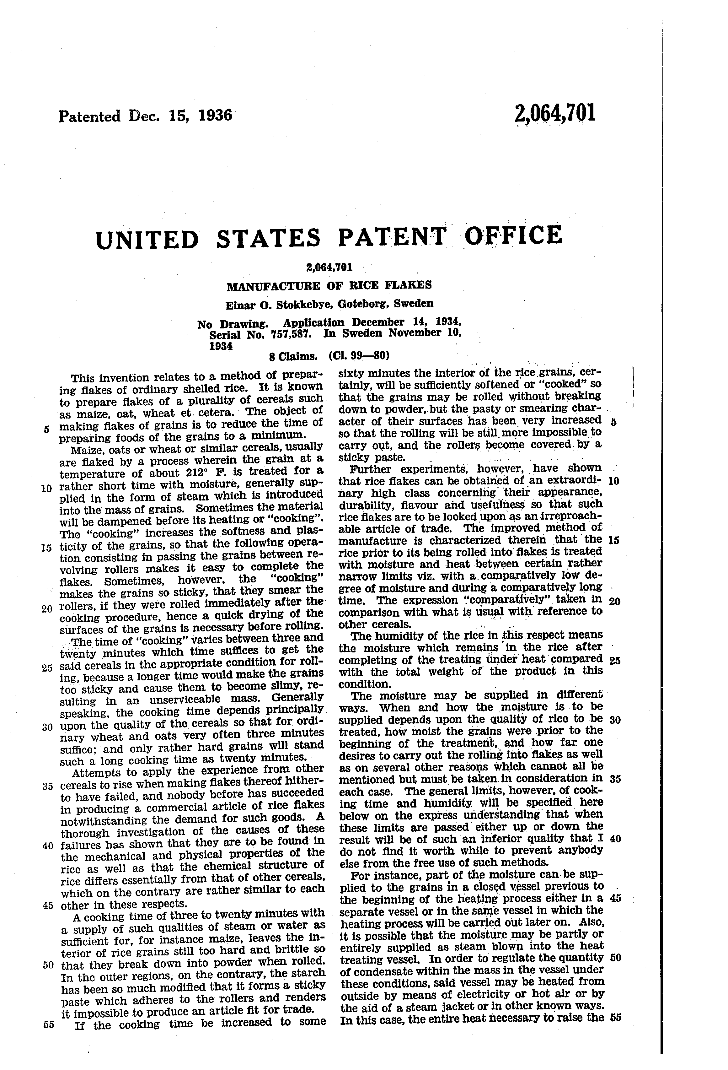 patent us manufacture of rice flakes patents patent drawing