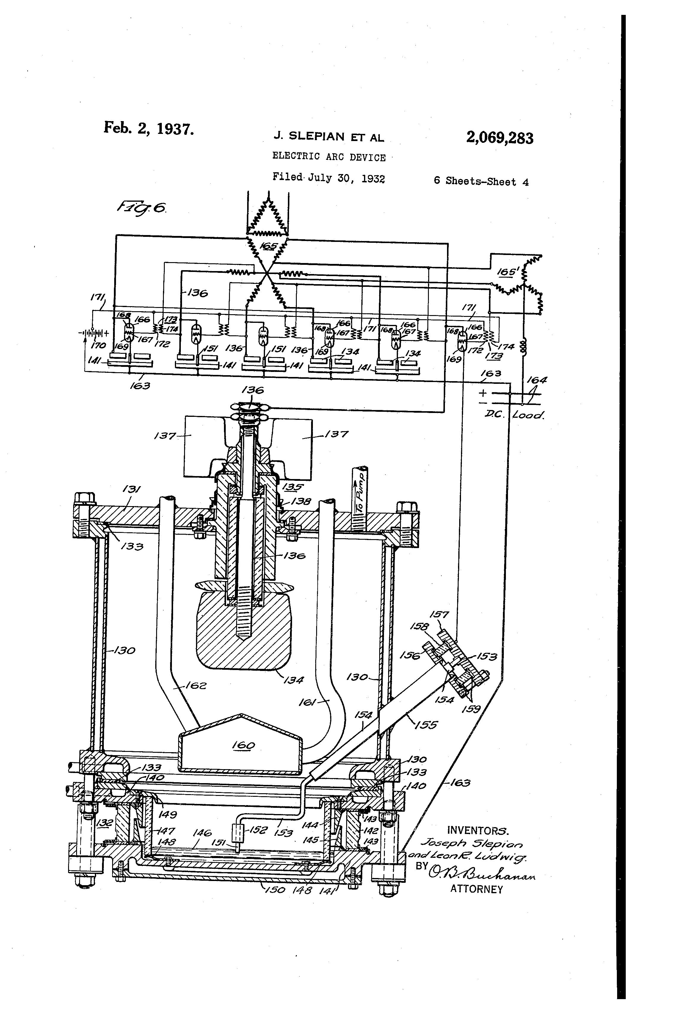 patent us2069283 - electric arc device
