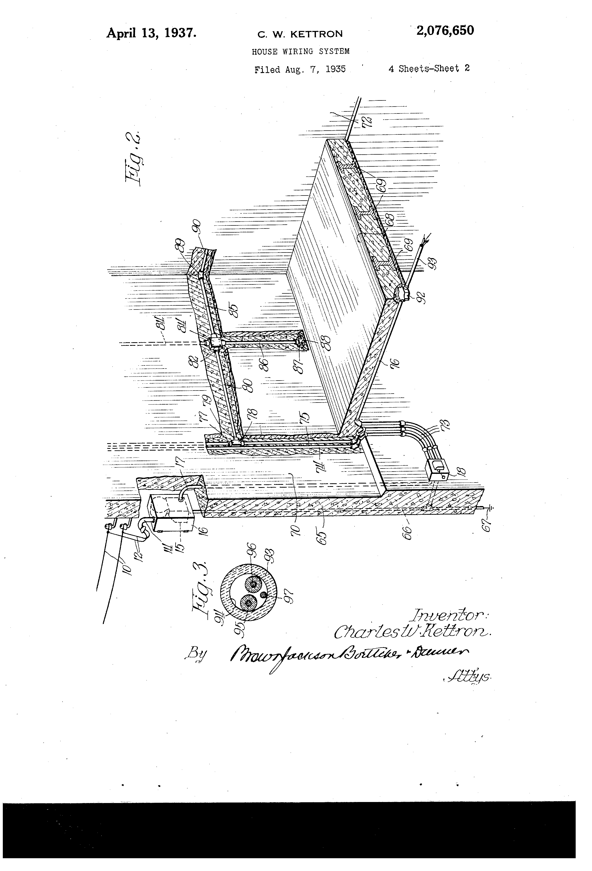 Patent Us2076650 - House Wiring System