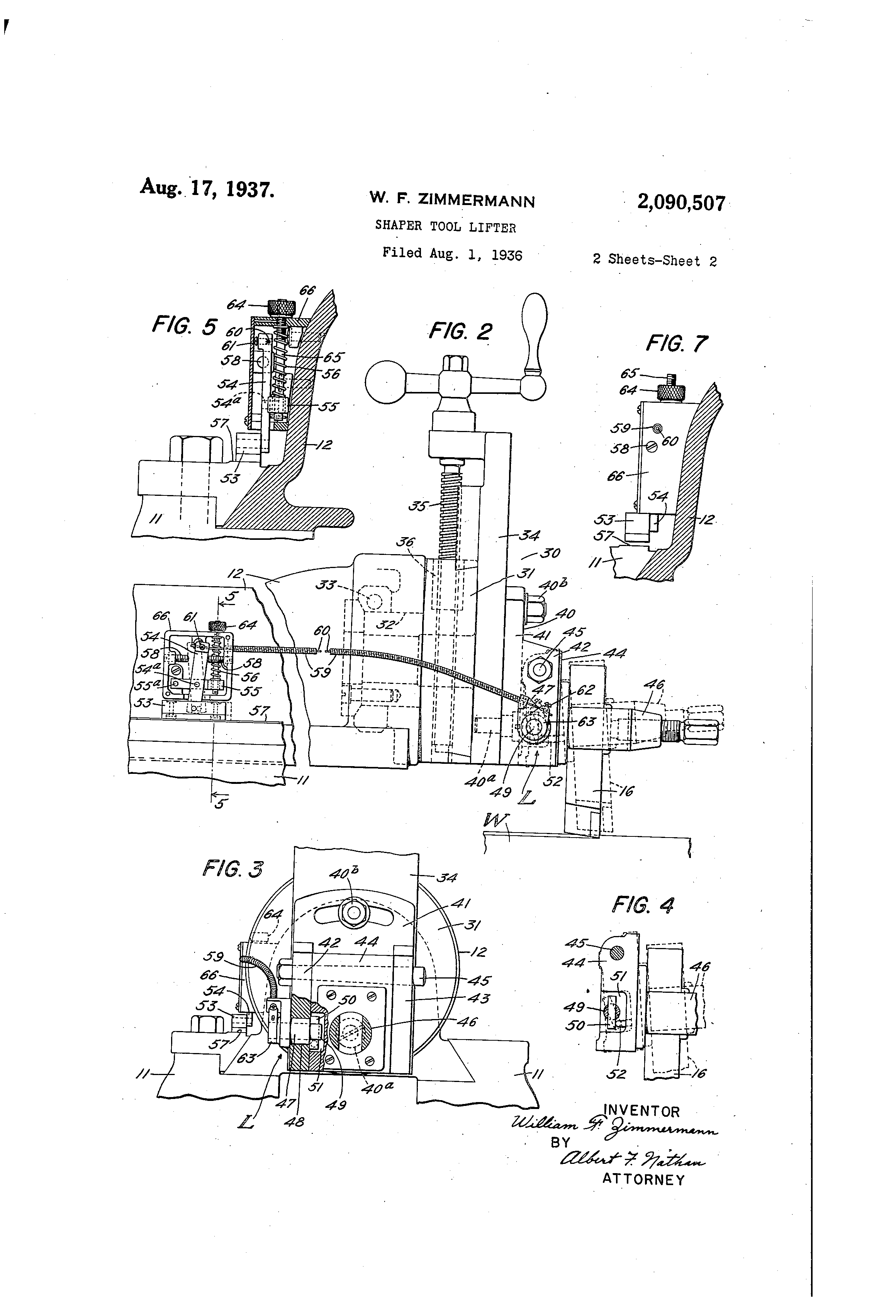 Patent Us2090507 Shaper Tool Lifter Google Patents