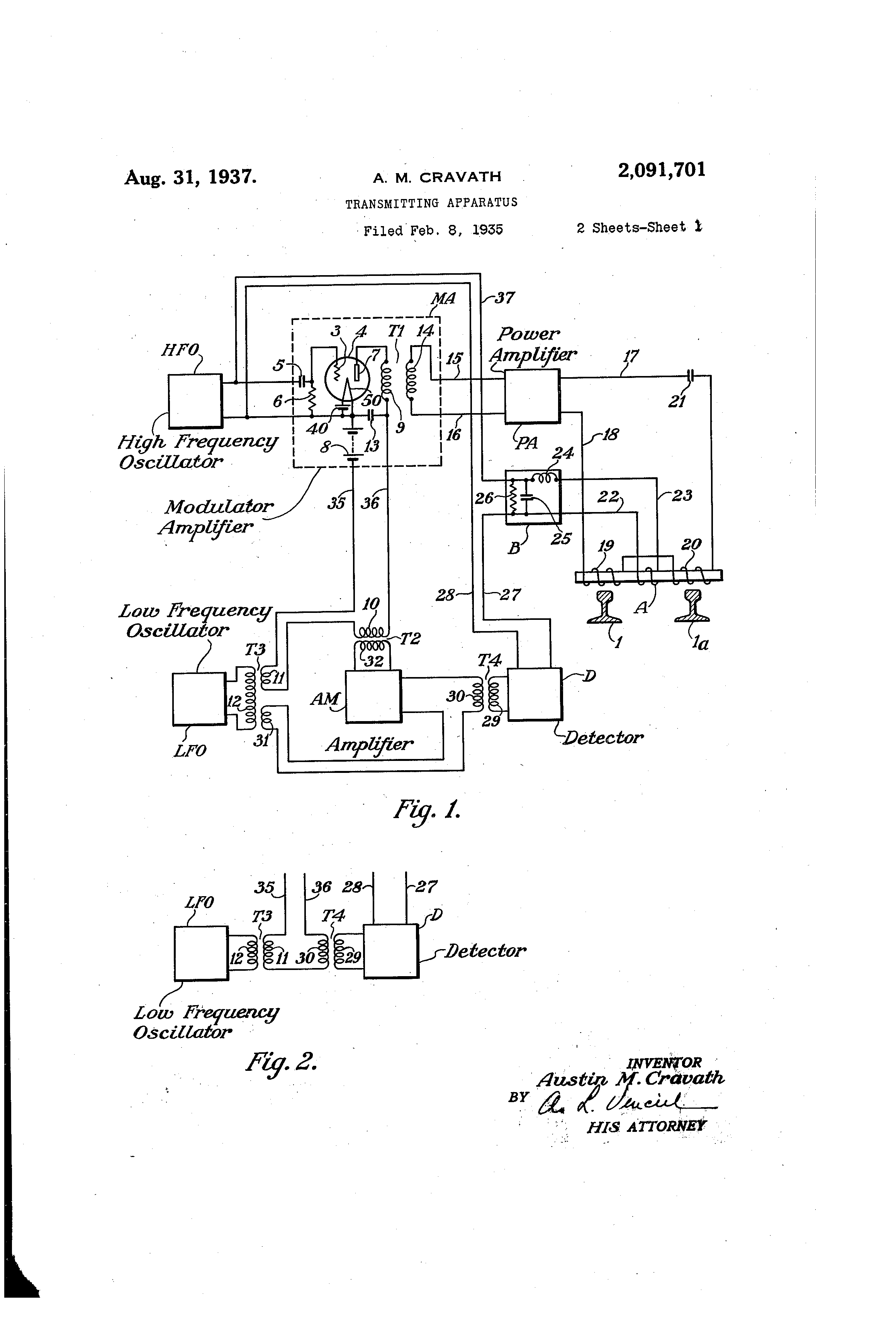 patent us2091701 transmitting apparatus patents HV Modulation patent drawing