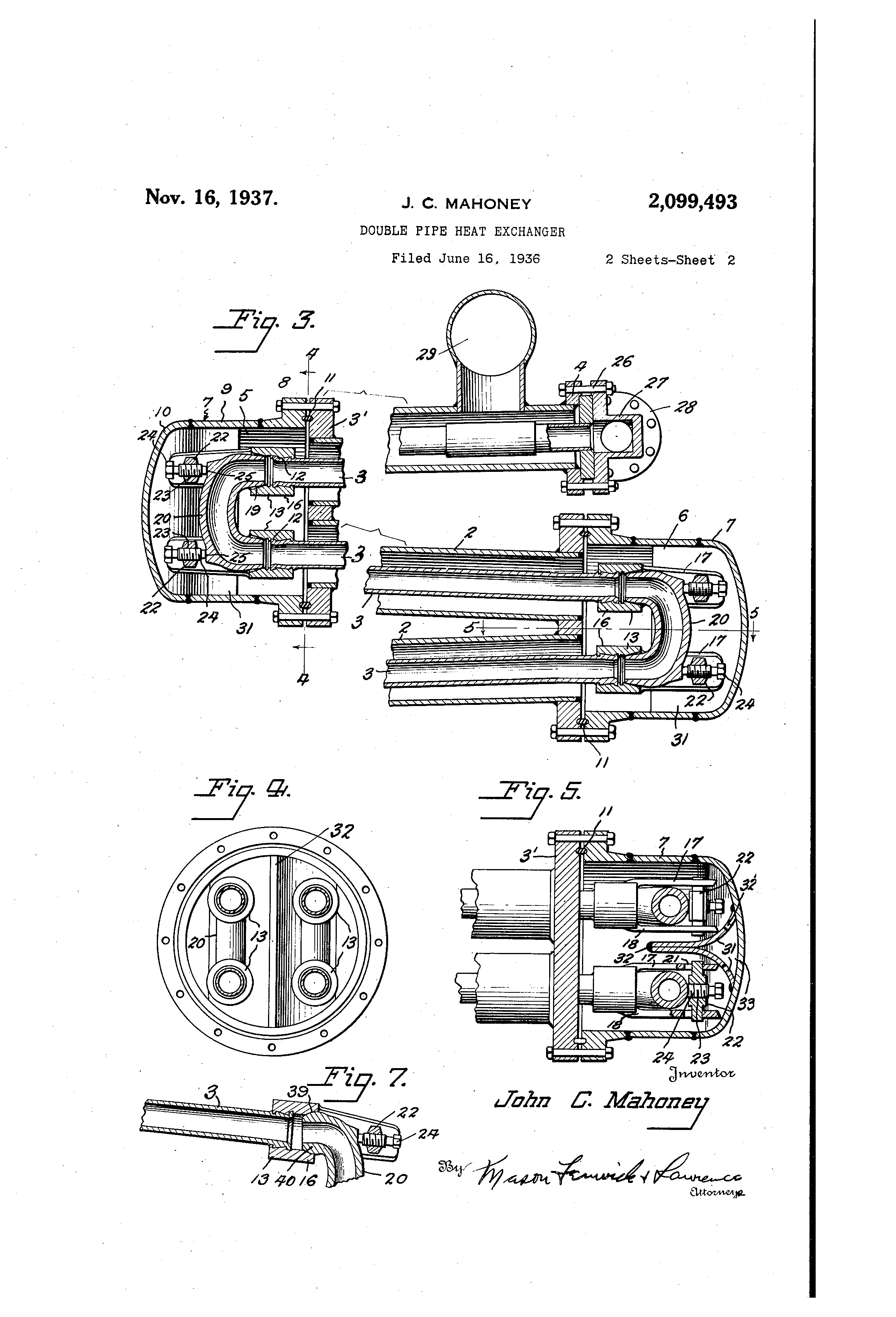 patent us2099493 - double pipe heat exchanger