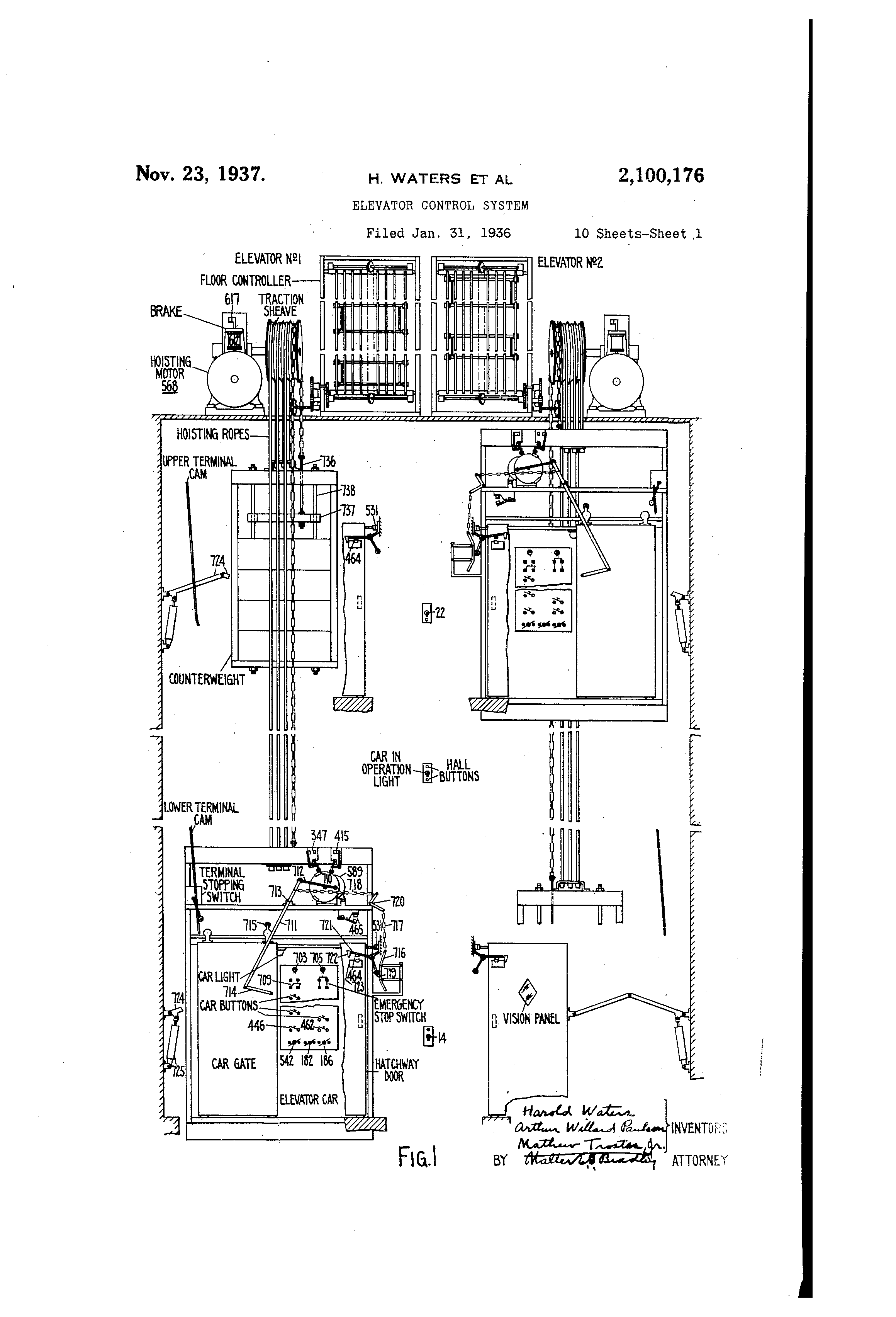 us elevator company wiring schematic elevator camera wiring schematic patent us2100176 - elevator control system - google patents #2