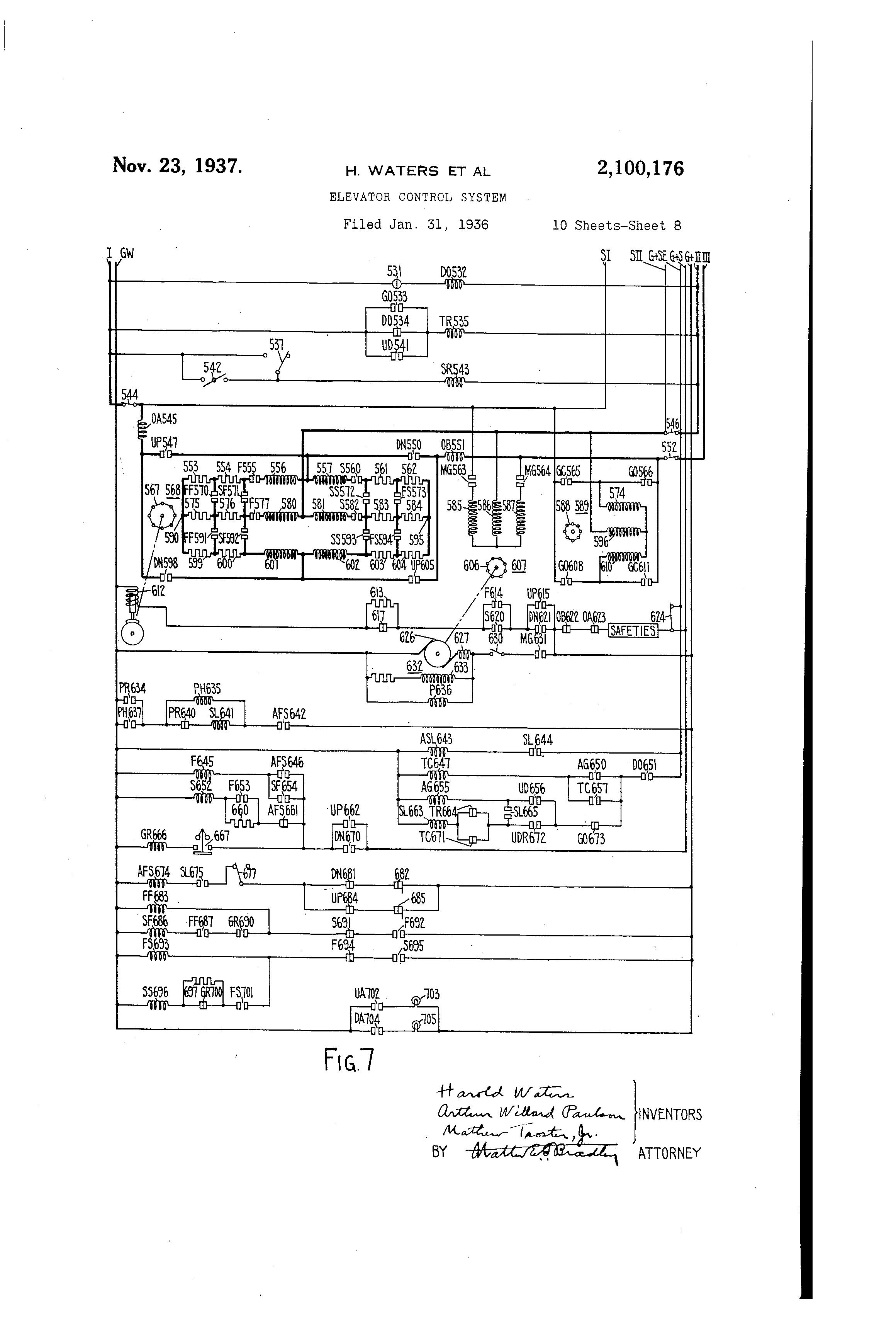 US2100176 7 patent us2100176 elevator control system google patents otis elevators wiring diagrams at webbmarketing.co