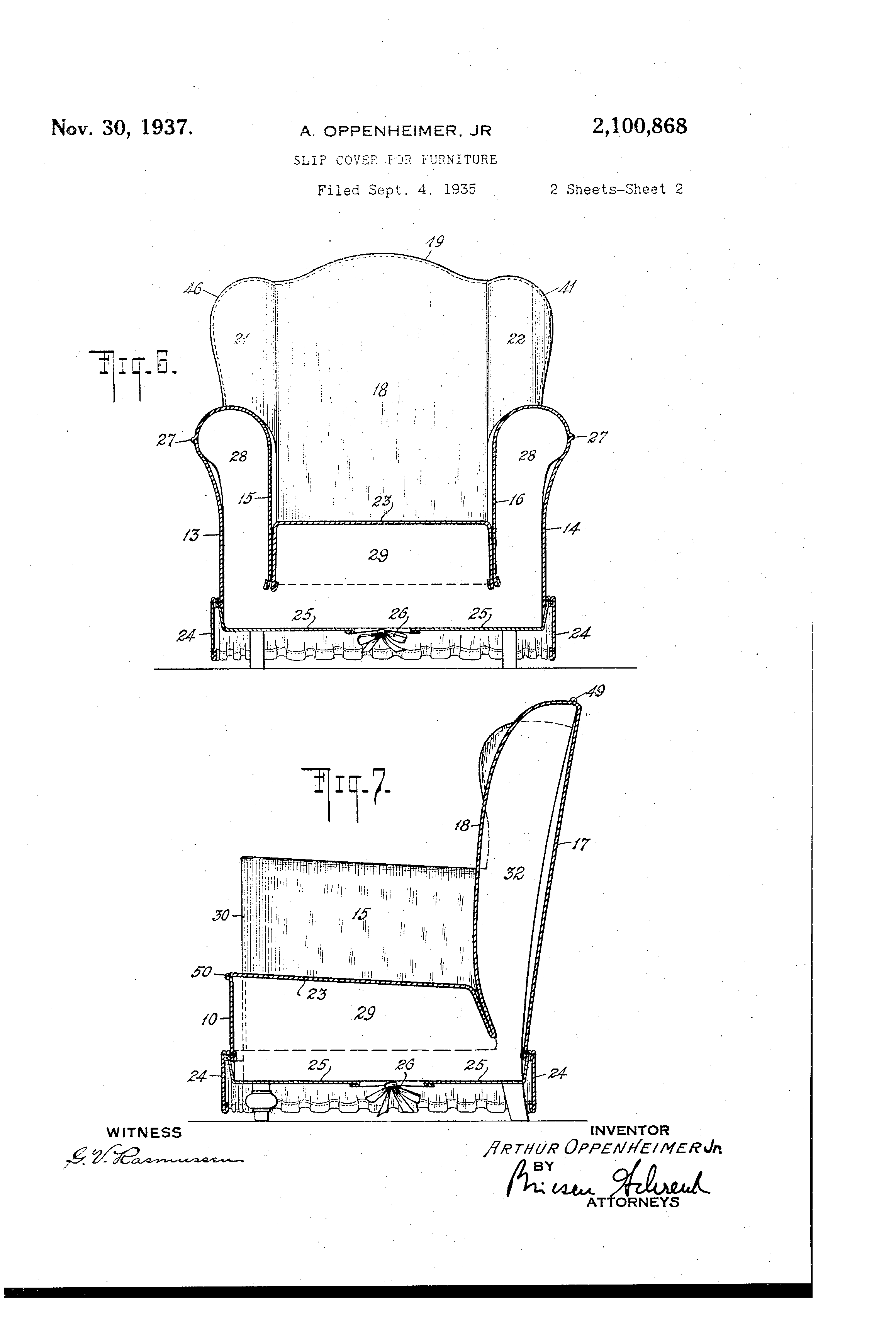 Patent Us2100868 Slip Cover For Furniture Google Patents