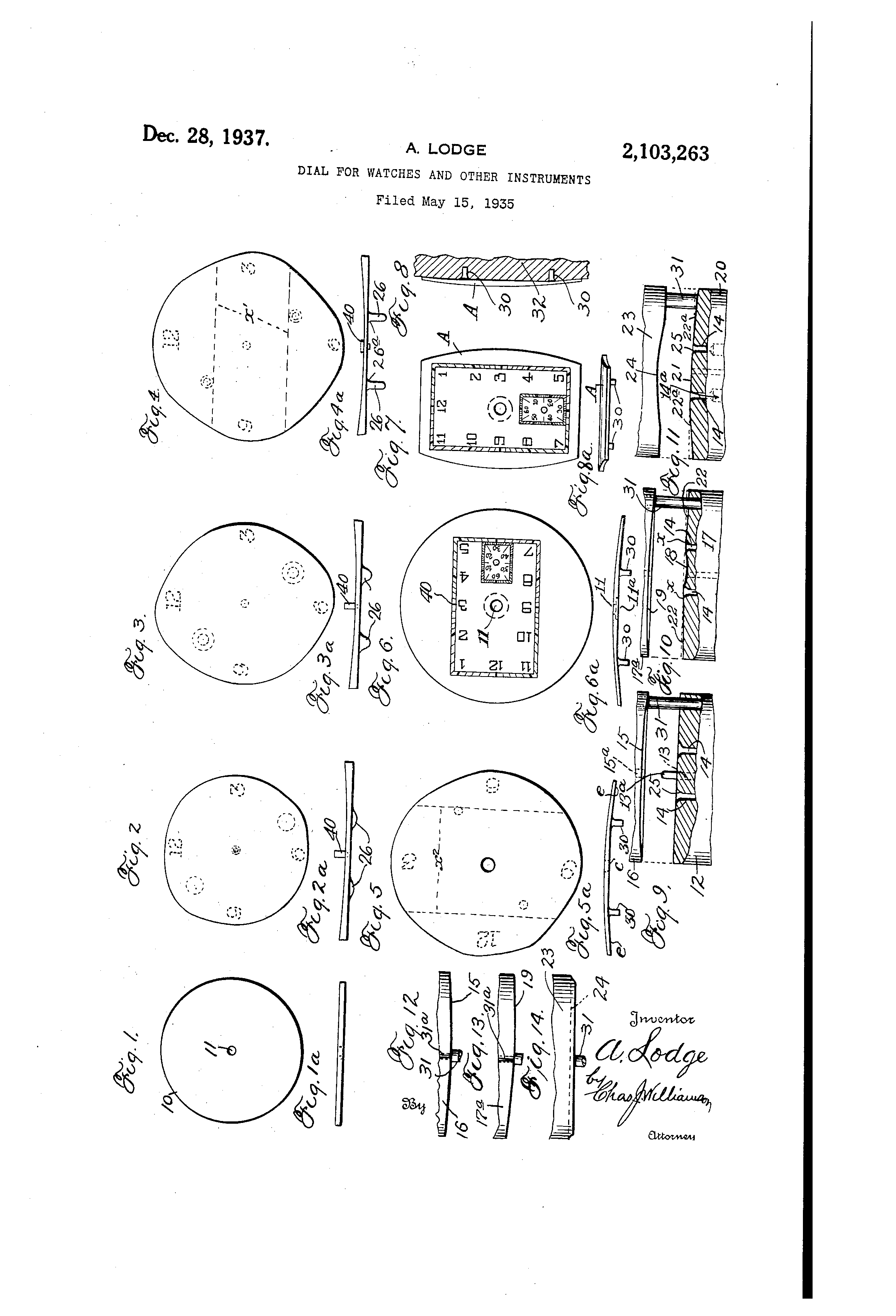 patent watch dial etc by alvin lodge issued dec 28  1937