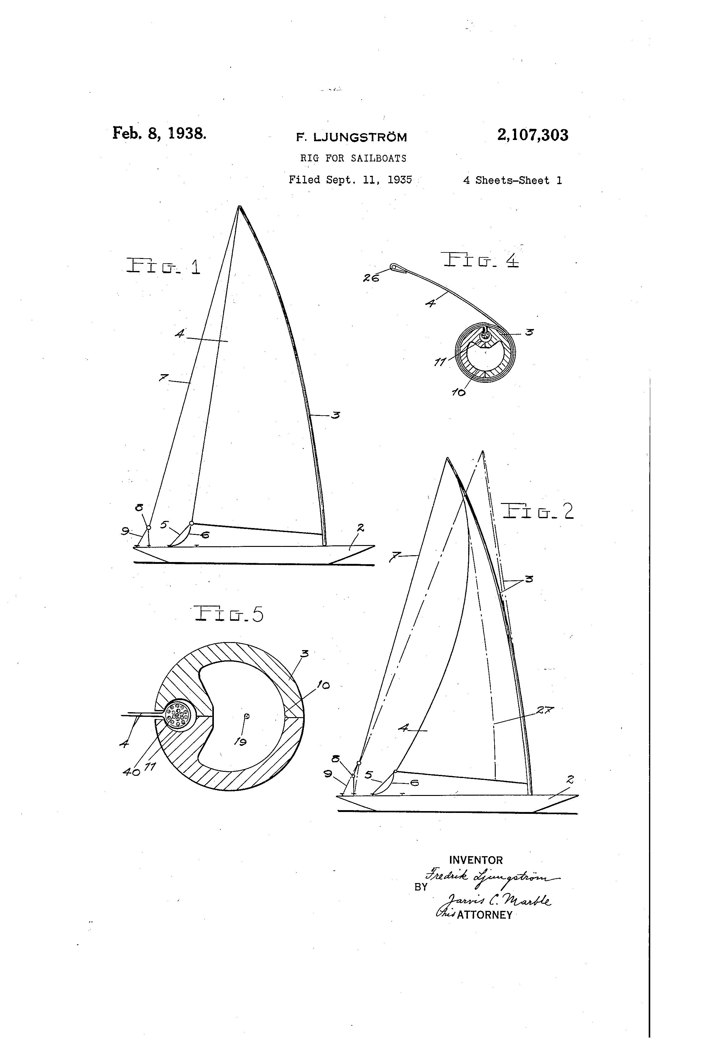 patent us2107303 rig for sailboats google patents