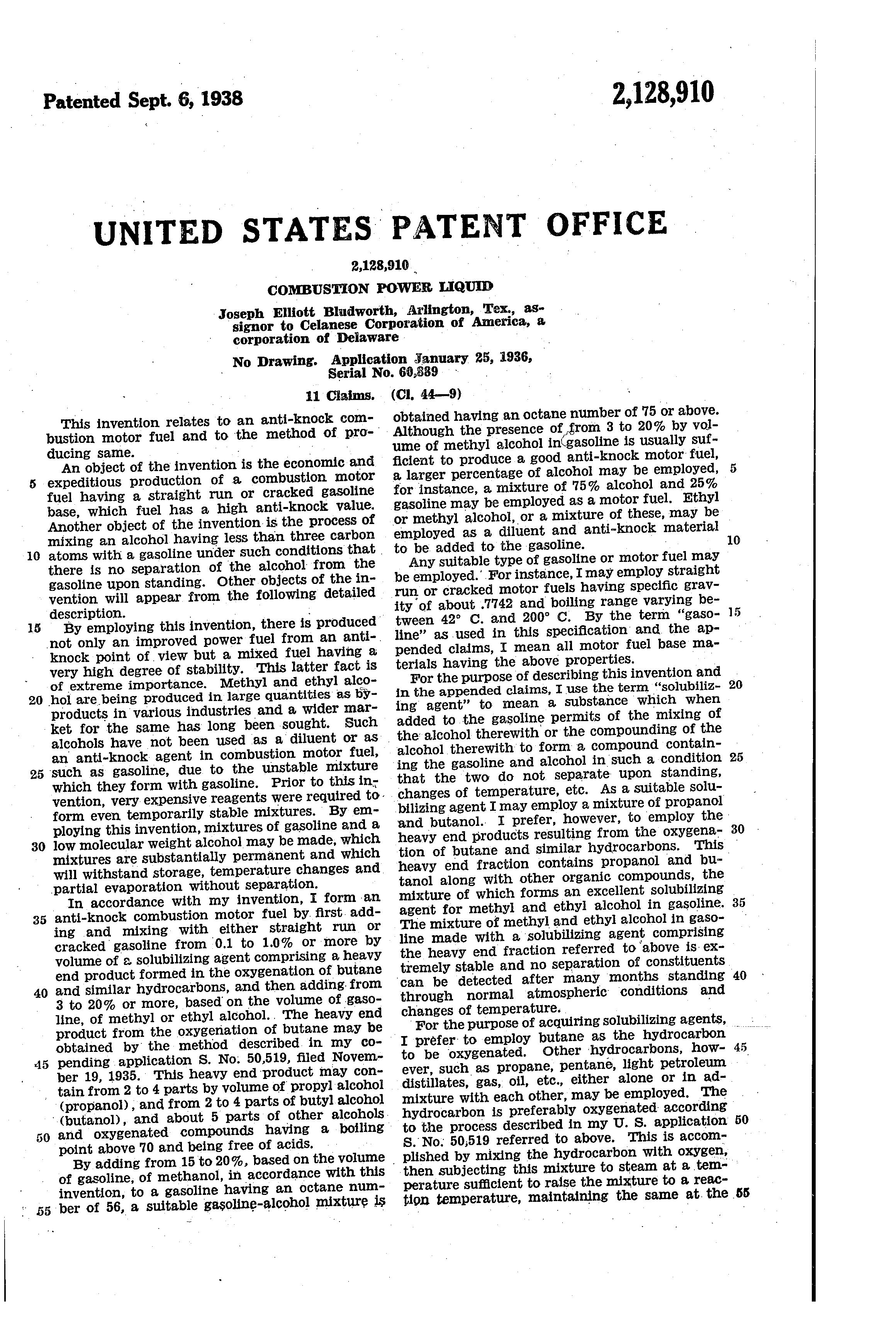 Patent US2128910 - Combustion power liquid - Google Patents