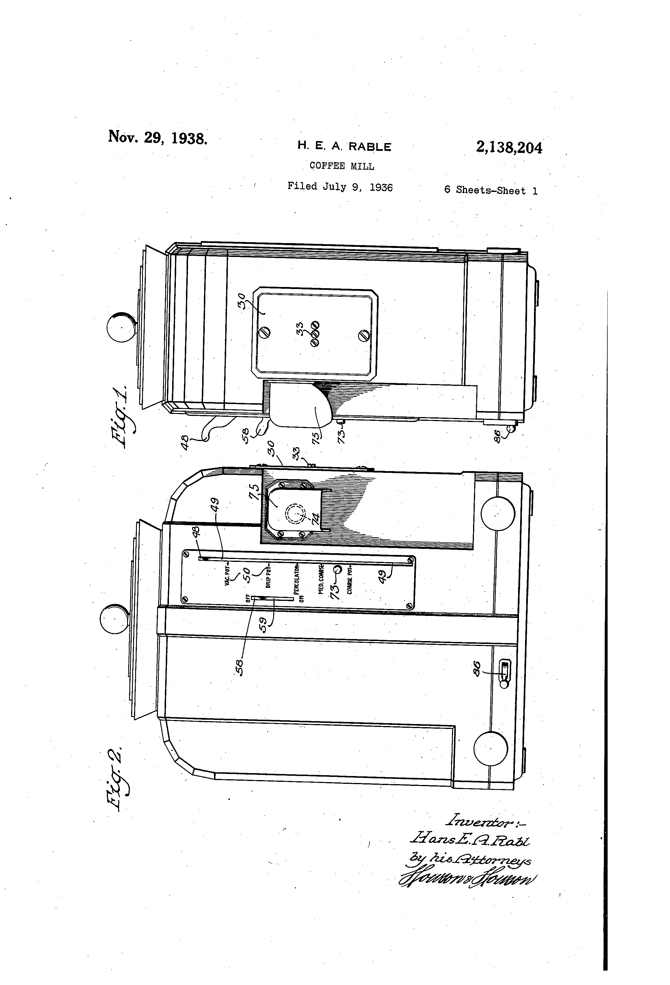 Patent Us2138204 Coffee Mill Google Patents Maker Schematic Diagram Besides For Bunn Drawing