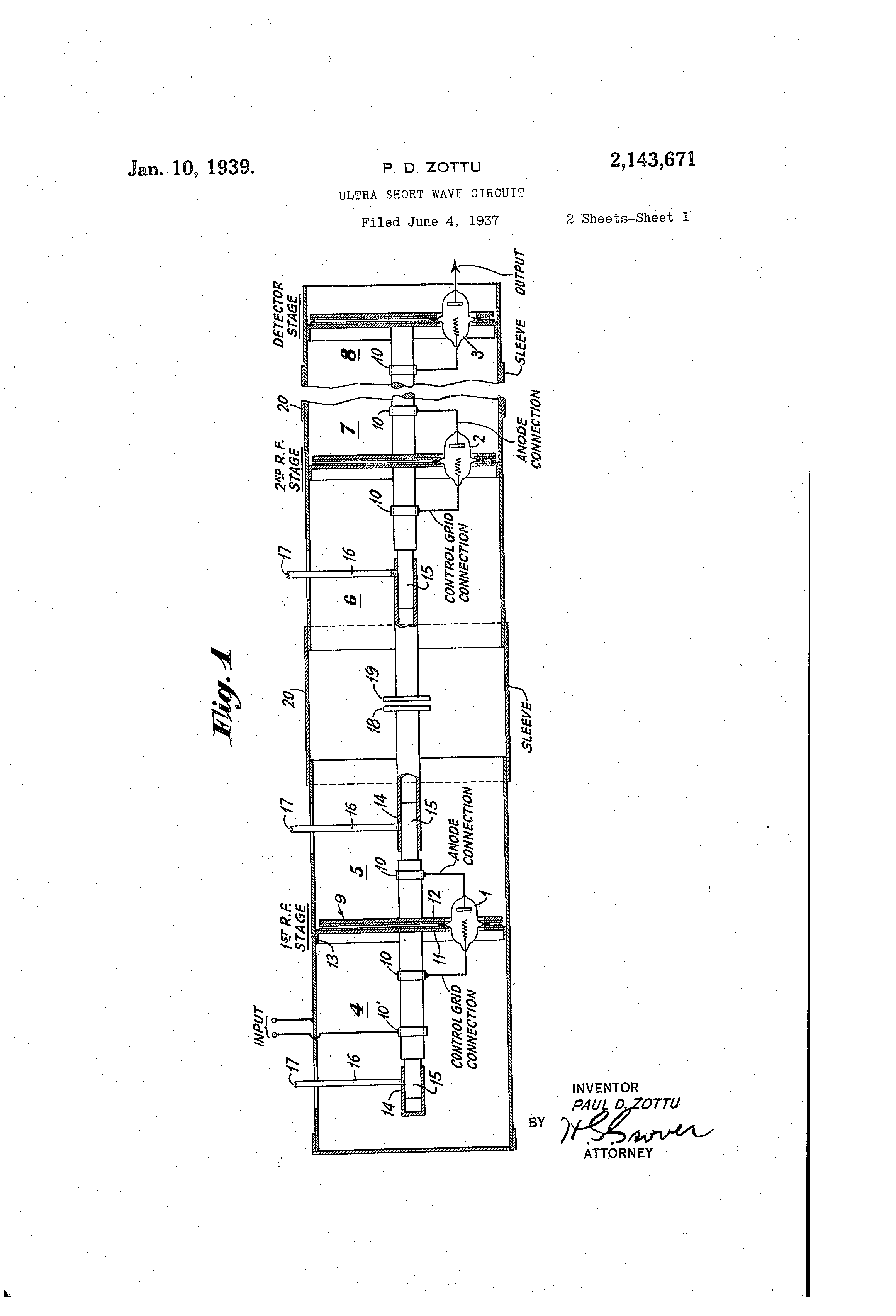 patent us2143671 - ultra short wave circuit