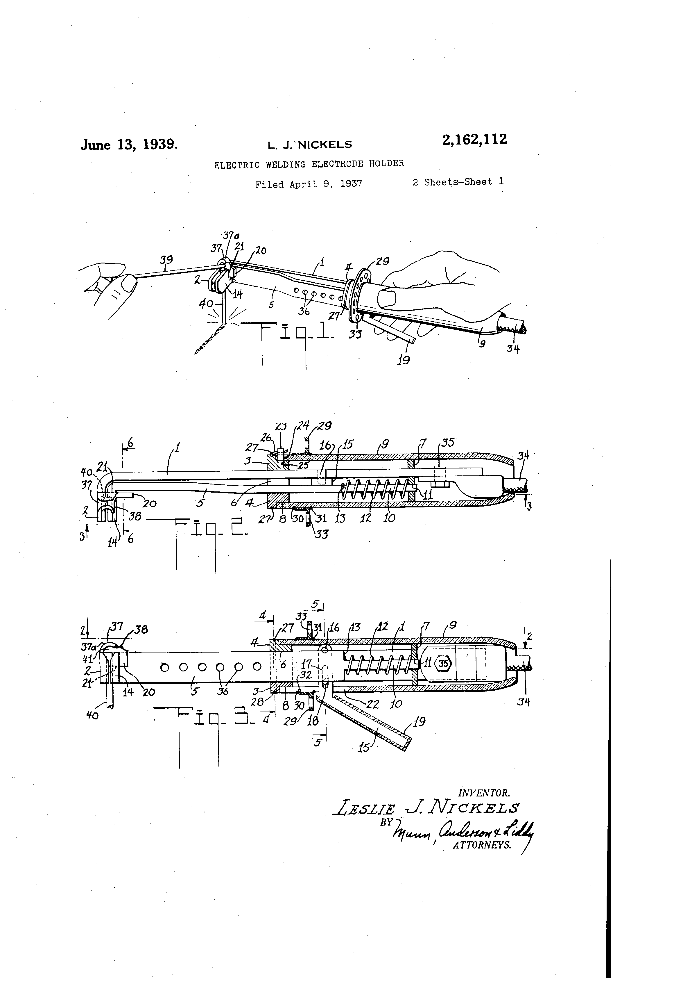 Patent Us2162112 Electric Welding Electrode Holder Google Patents Diagram Drawing