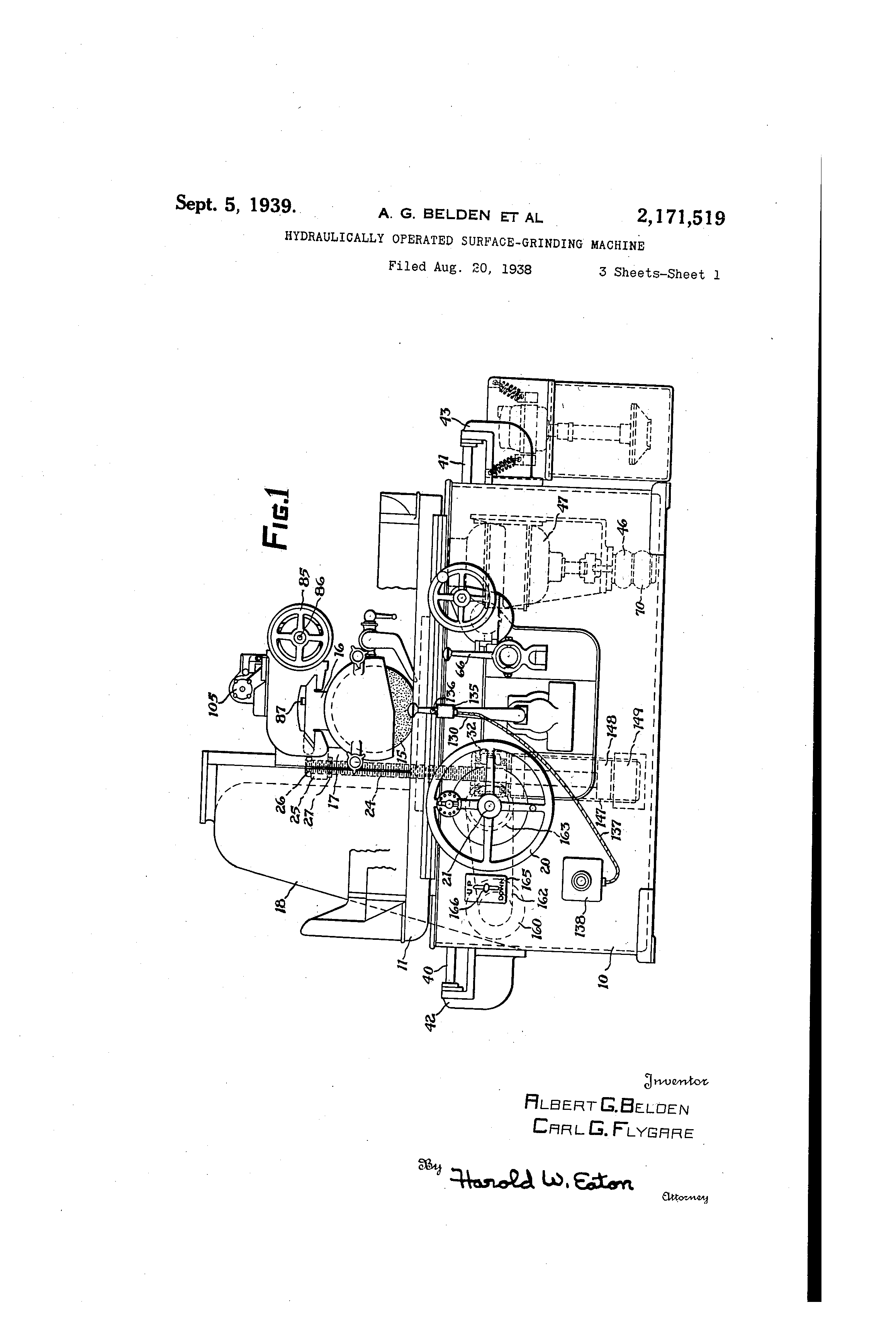 US2171519 0 patent us2171519 hydraulically operated surfacegrinding machine Brown and Sharpe Surface Grinder 510 at bakdesigns.co