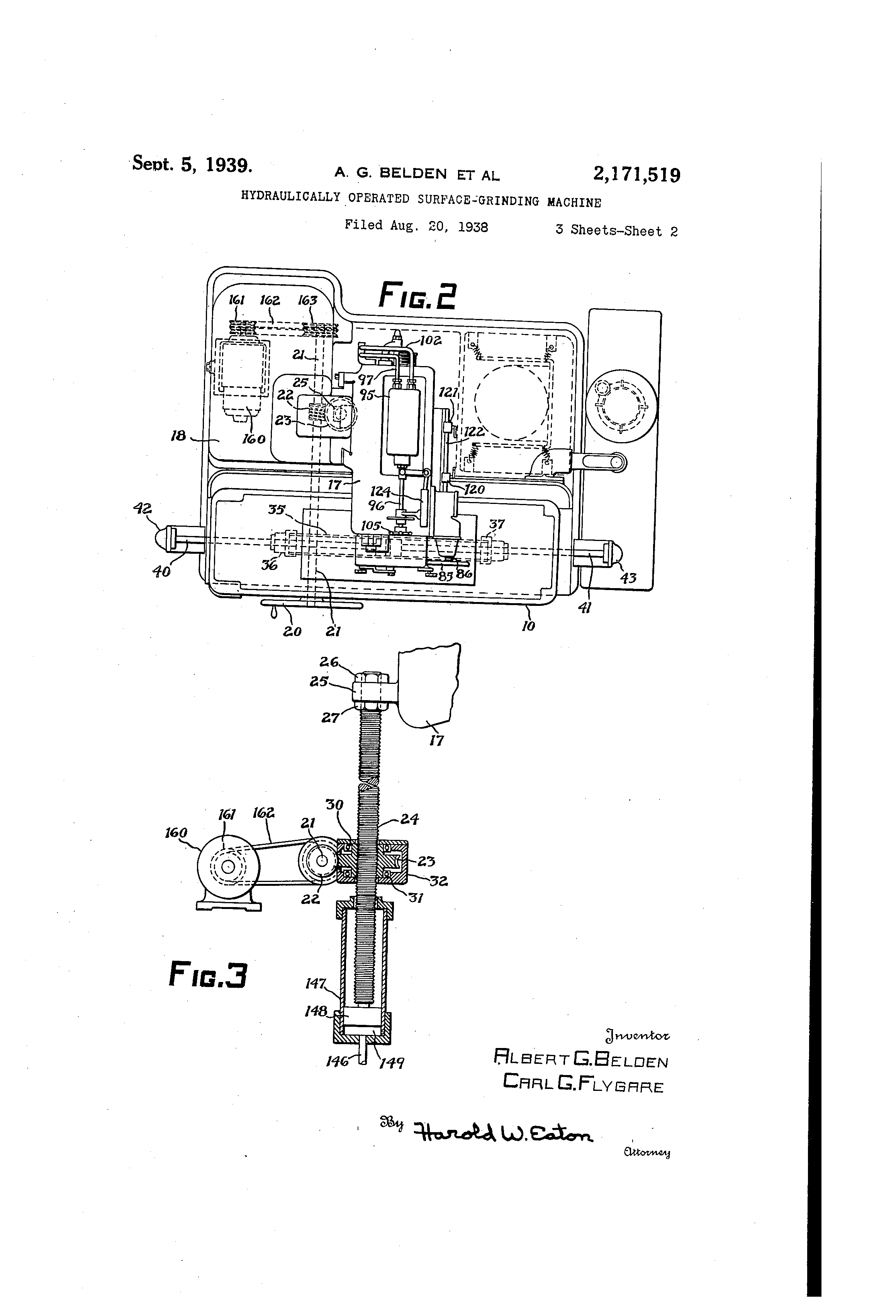 US2171519 1 patent us2171519 hydraulically operated surfacegrinding machine Brown and Sharpe Surface Grinder 510 at bakdesigns.co