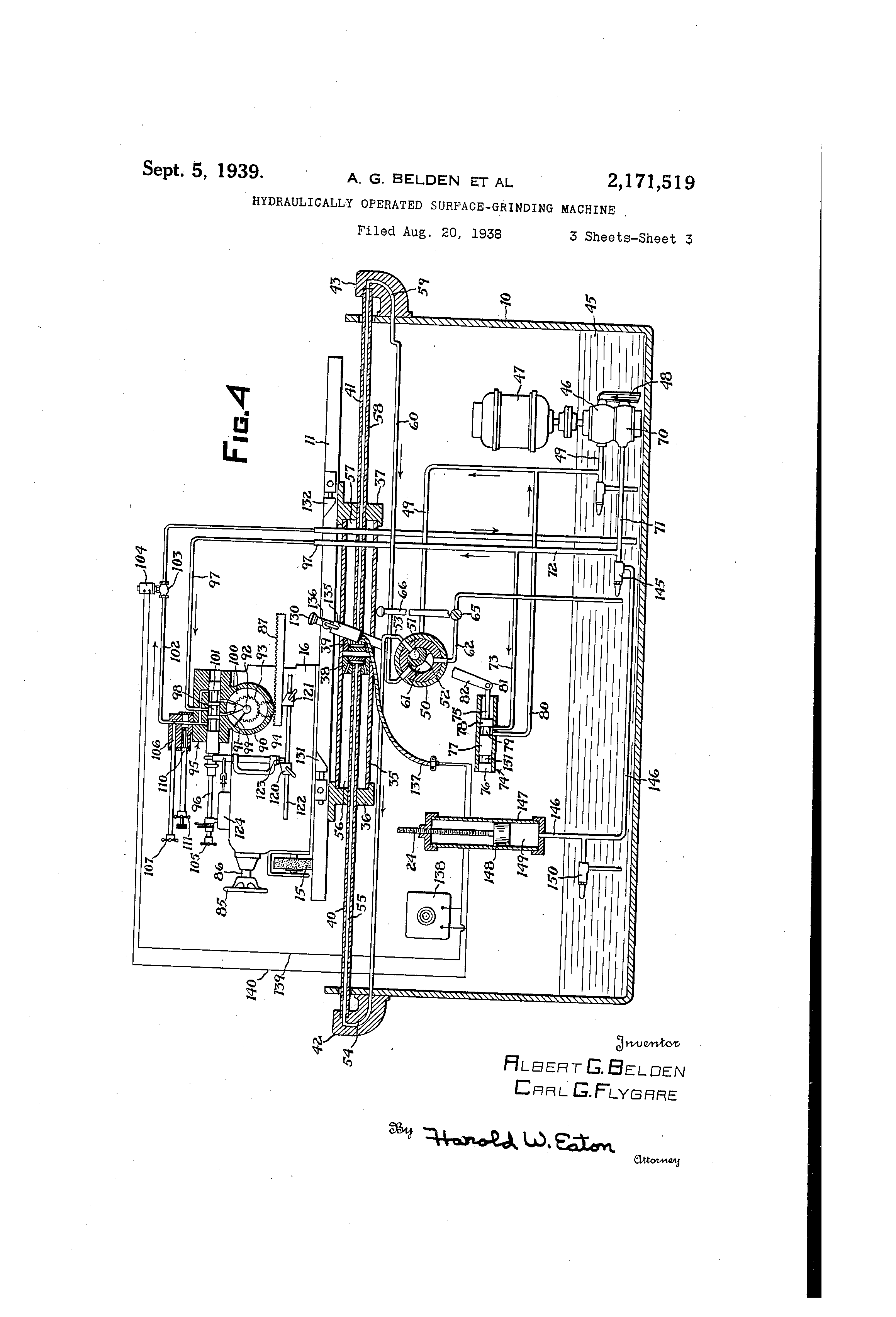 US2171519 2 patent us2171519 hydraulically operated surfacegrinding machine Brown and Sharpe Surface Grinder 510 at bakdesigns.co