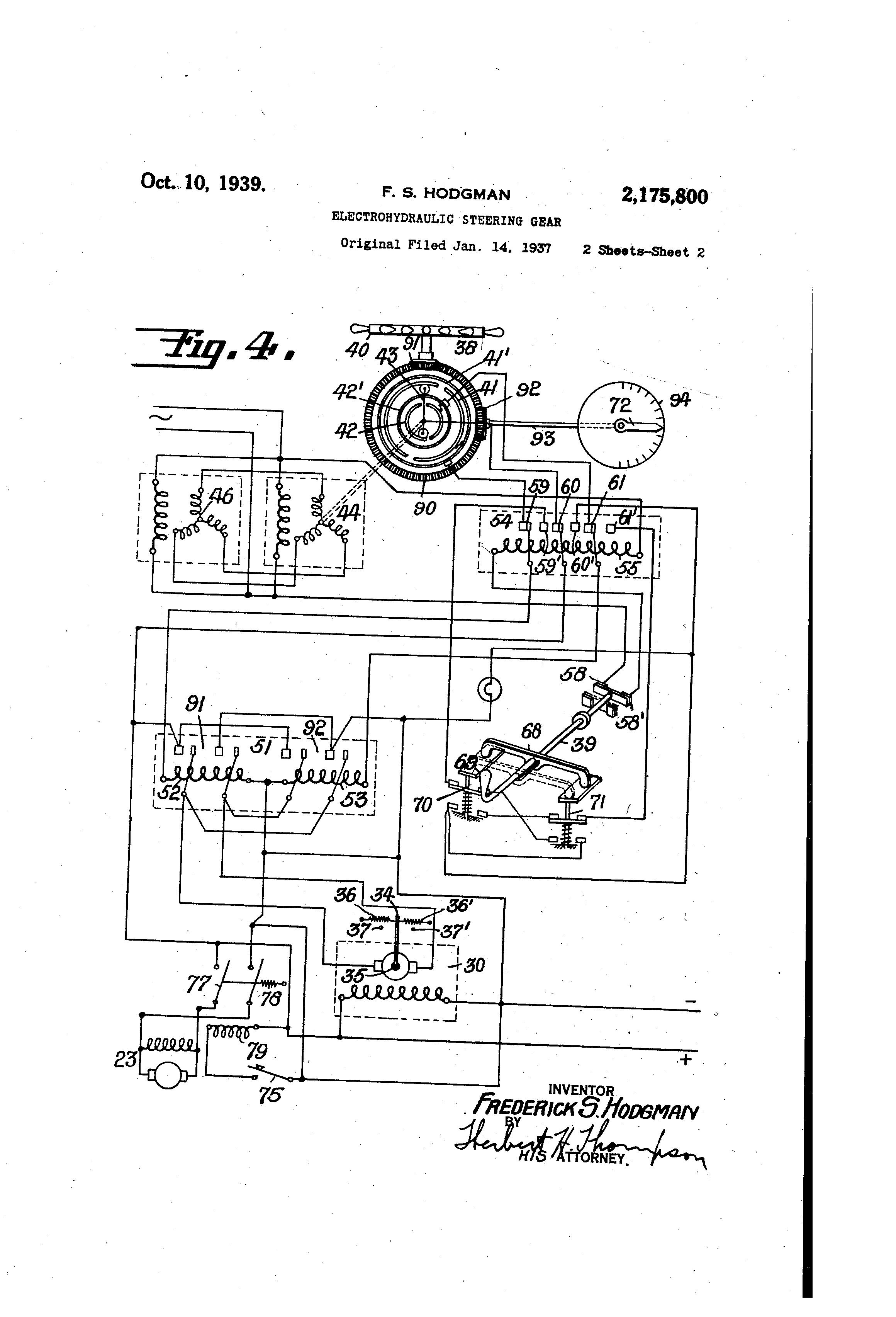 patent us2175800 electrohydraulic steering gear google patenti patent drawing
