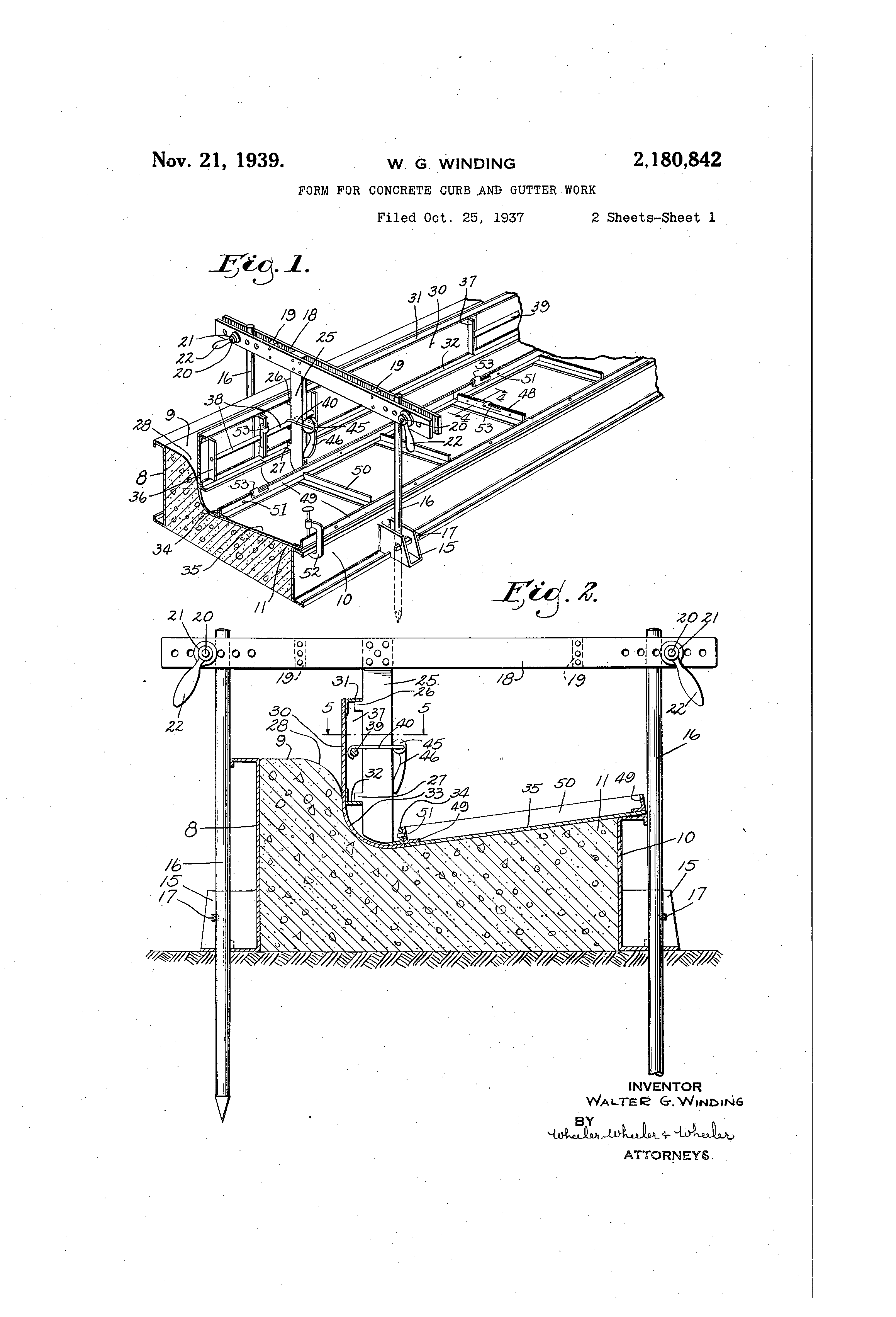 Patent Us2180842 Form For Concrete Curb And Gutter Work