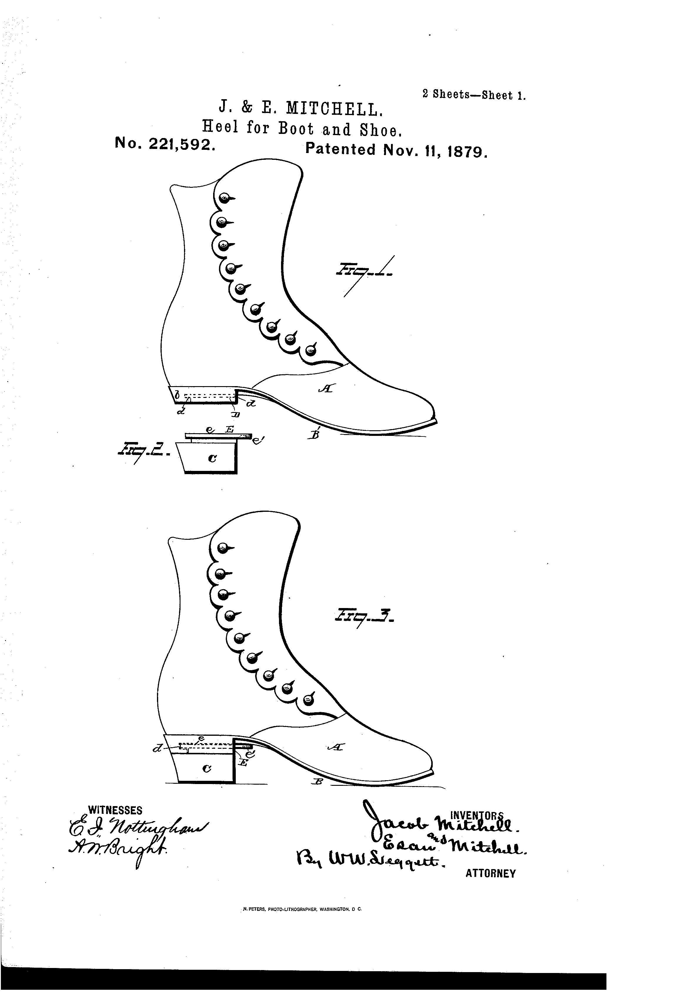 patent us221592 improvement in heels for boots and shoes Types of Foot Pain Diagram patent drawing