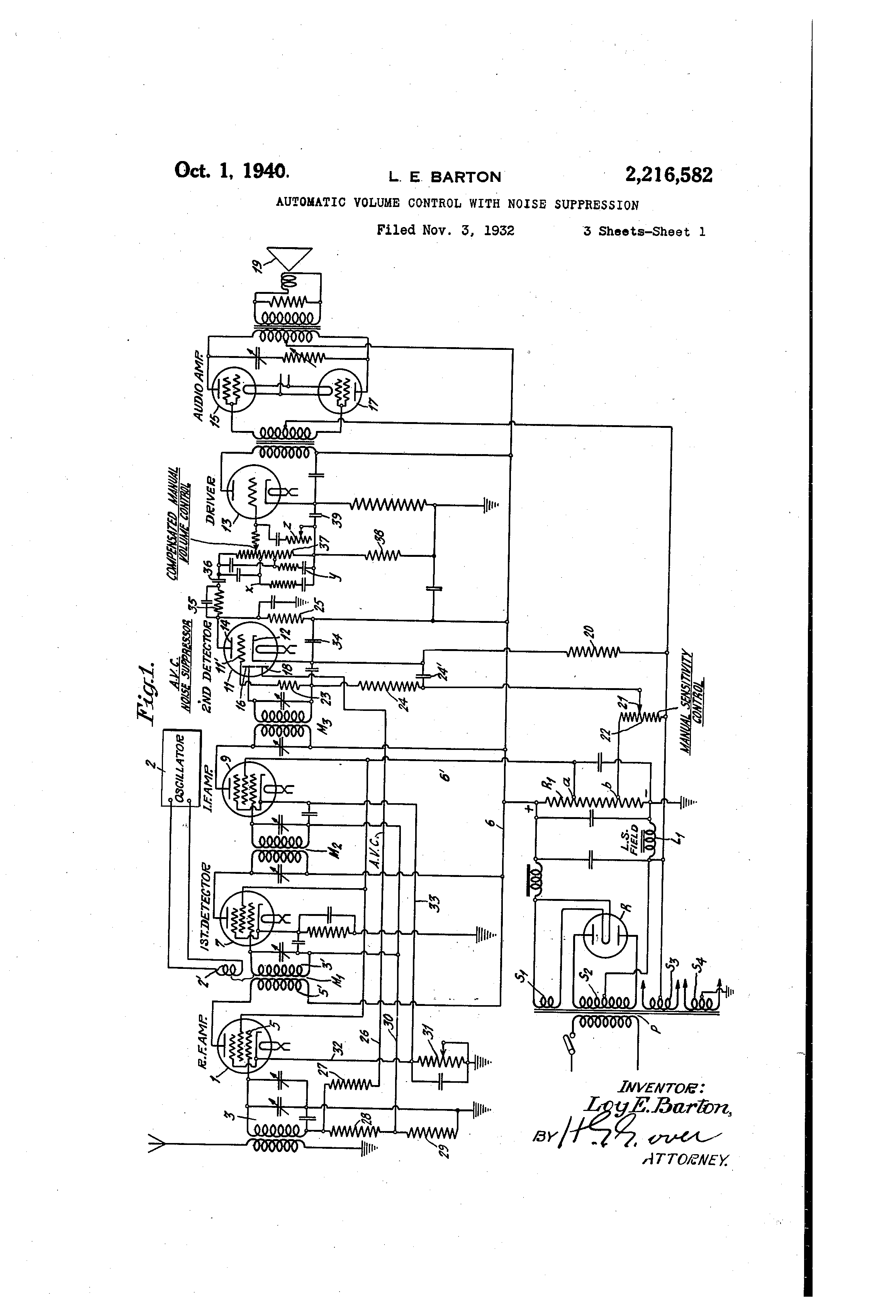 Patent US2216582 - Automatic volume control with noise